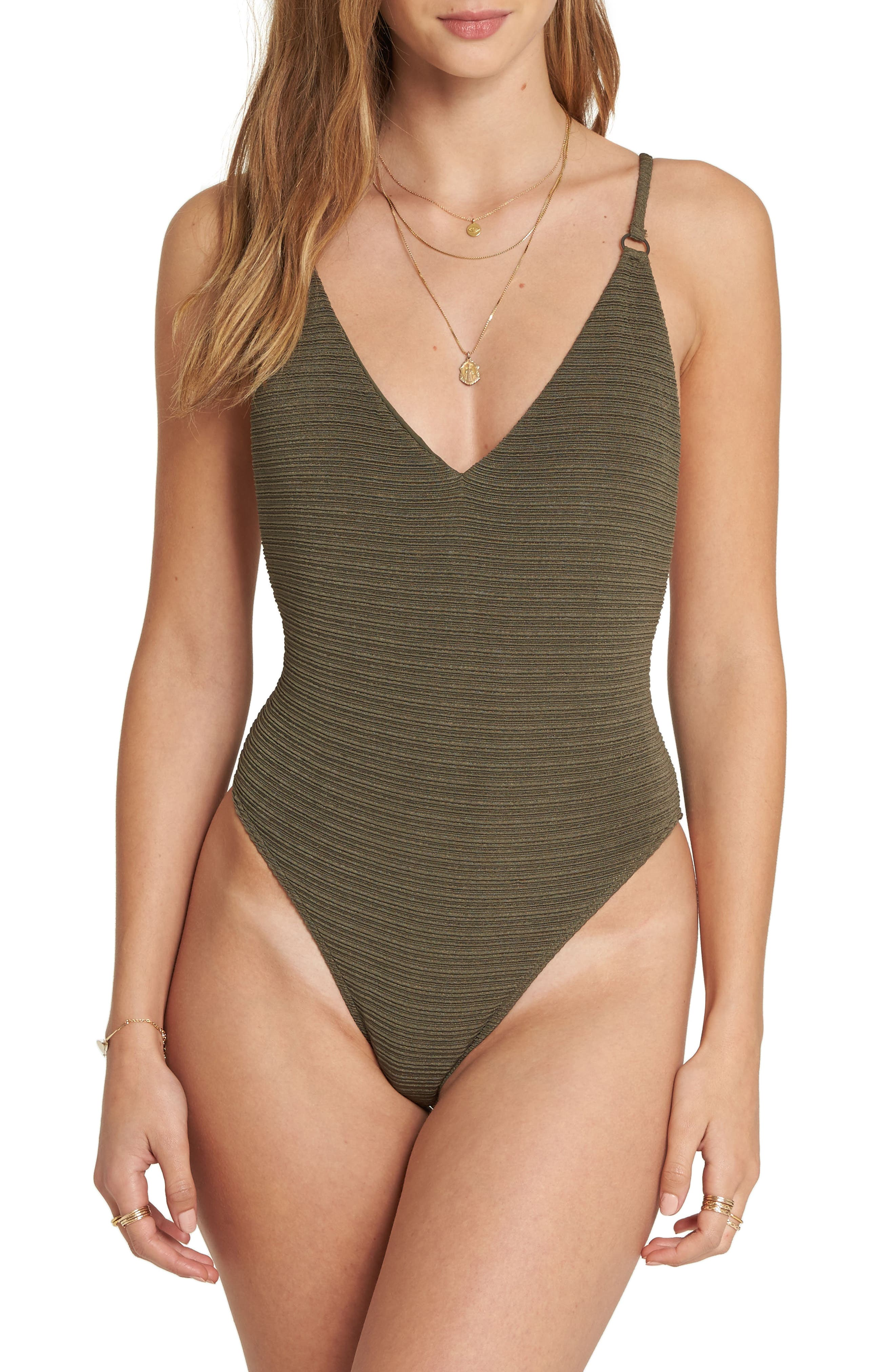 No Hurry One-Piece Swimsuit,                         Main,                         color, Olive