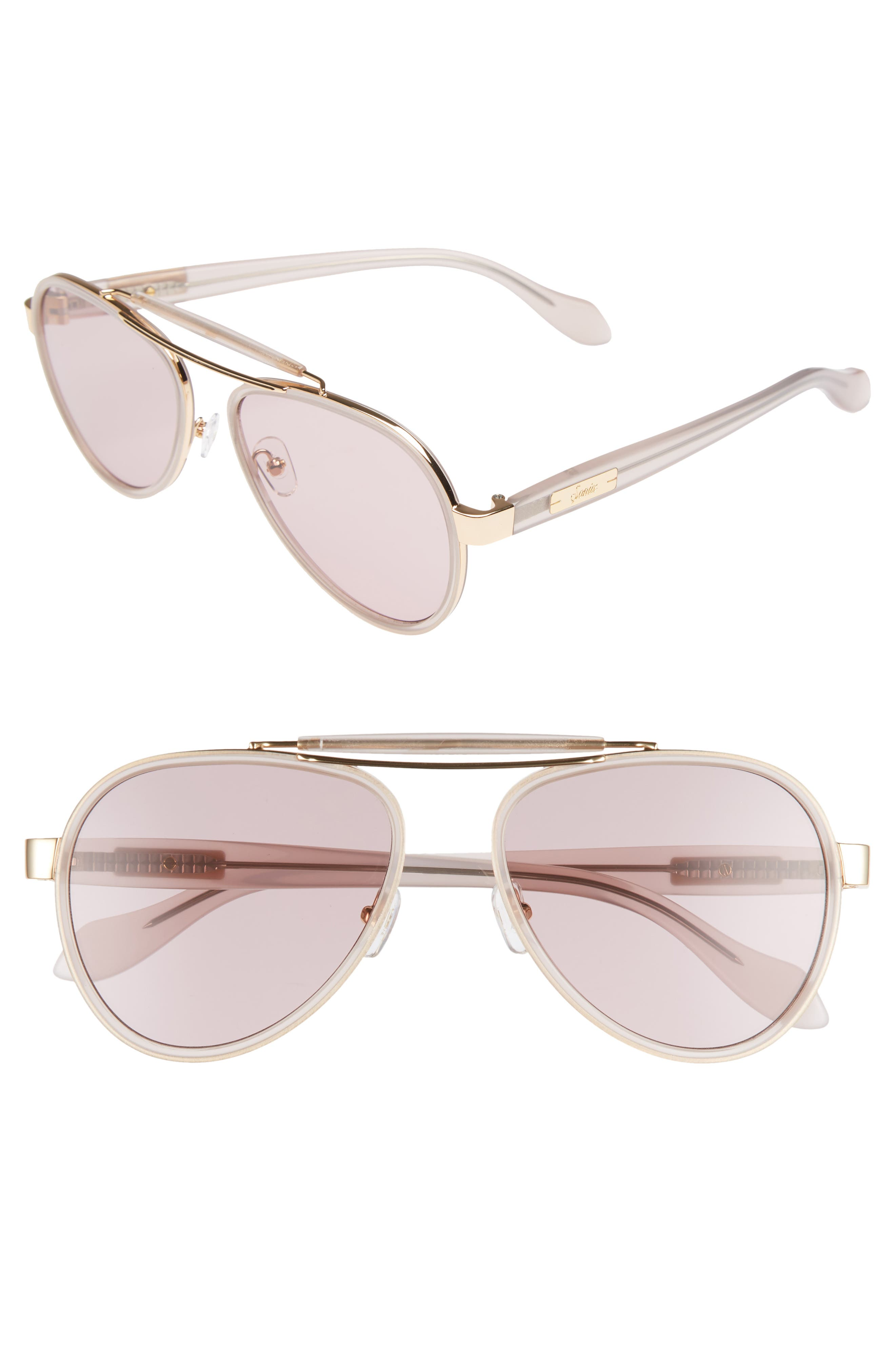PABLO 58MM AVIATOR SUNGLASSES - LAVENDER/ LAVENDER SOLID