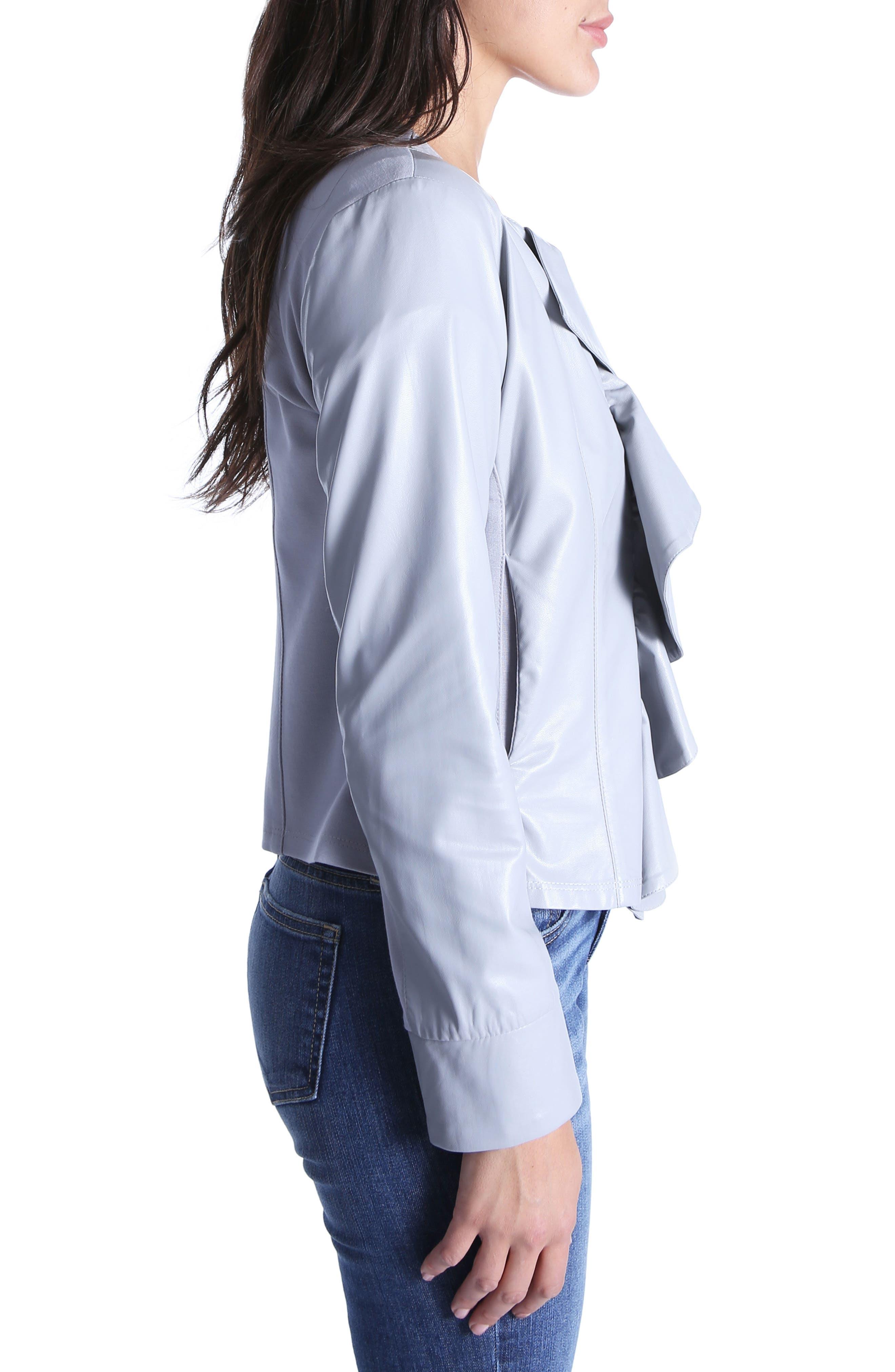 Dahliana Faux Leather Jacket,                             Alternate thumbnail 3, color,                             Grey