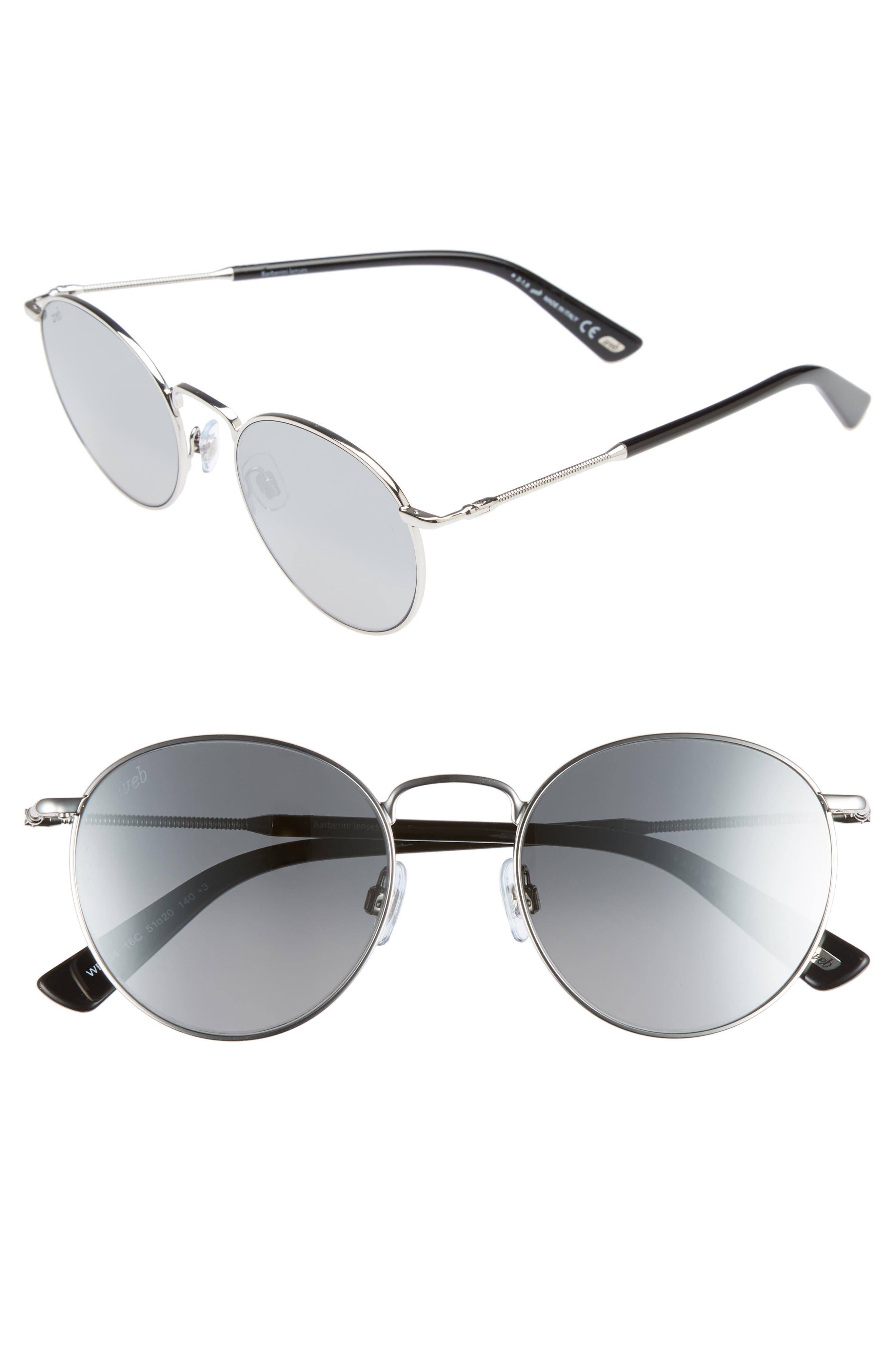 51mm Round Metal Sunglasses,                         Main,                         color, Shiny Palladium/ Smoke Mirror