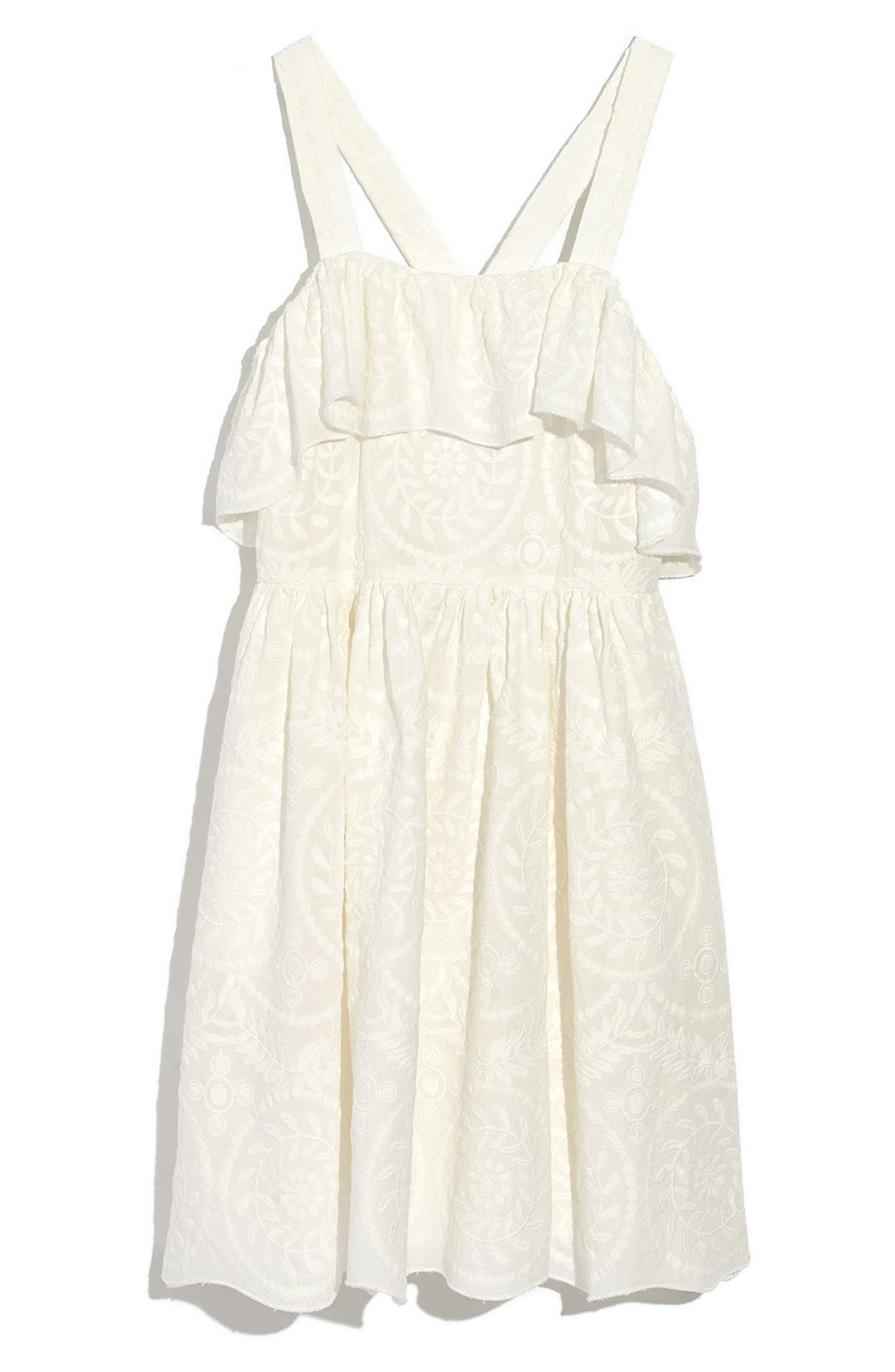 Embroidered Apron Ruffle Dress,                             Alternate thumbnail 3, color,                             White Wash