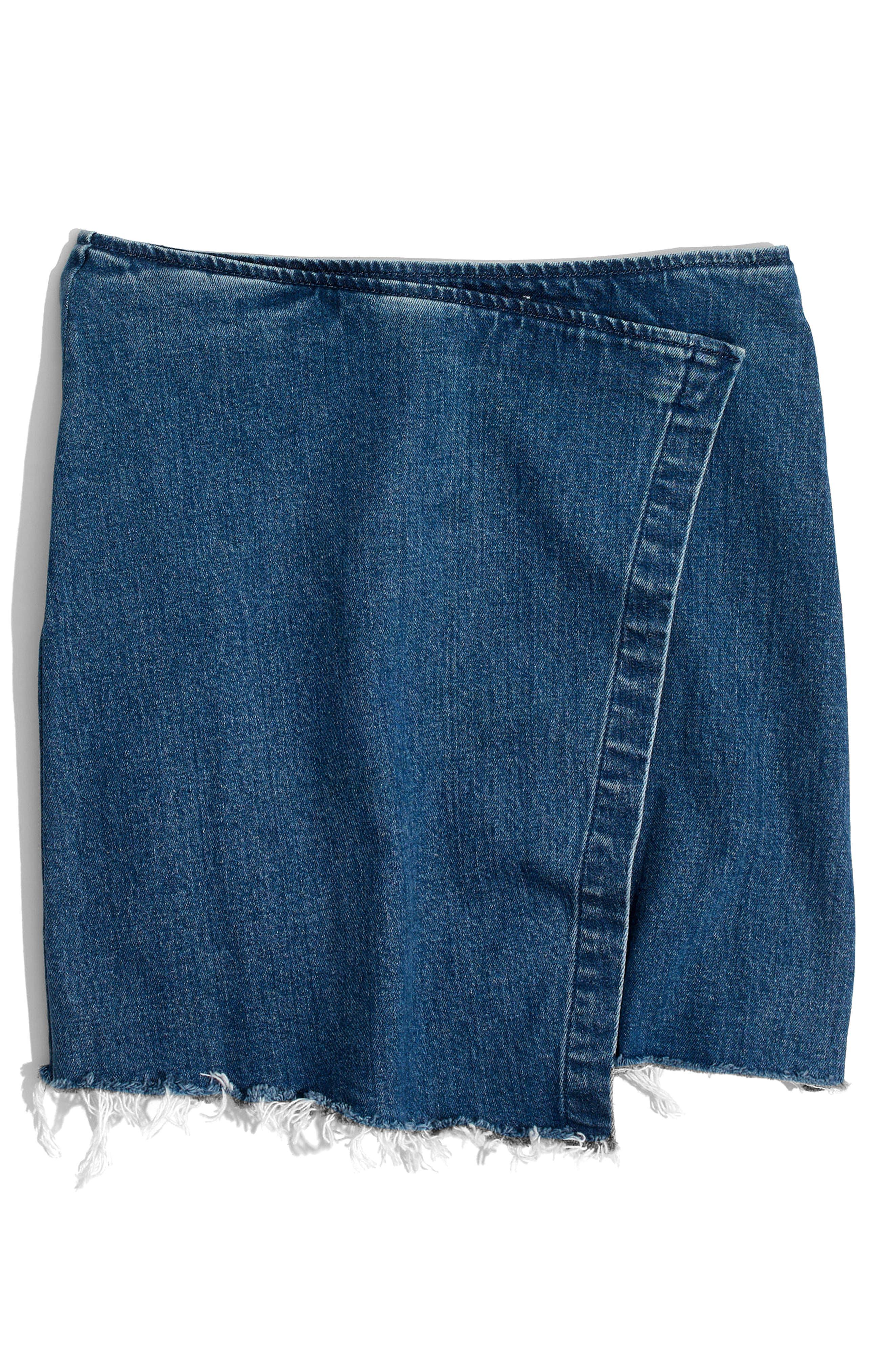 Denim Faux Wrap Mini Skirt,                             Alternate thumbnail 4, color,                             Palma Wash