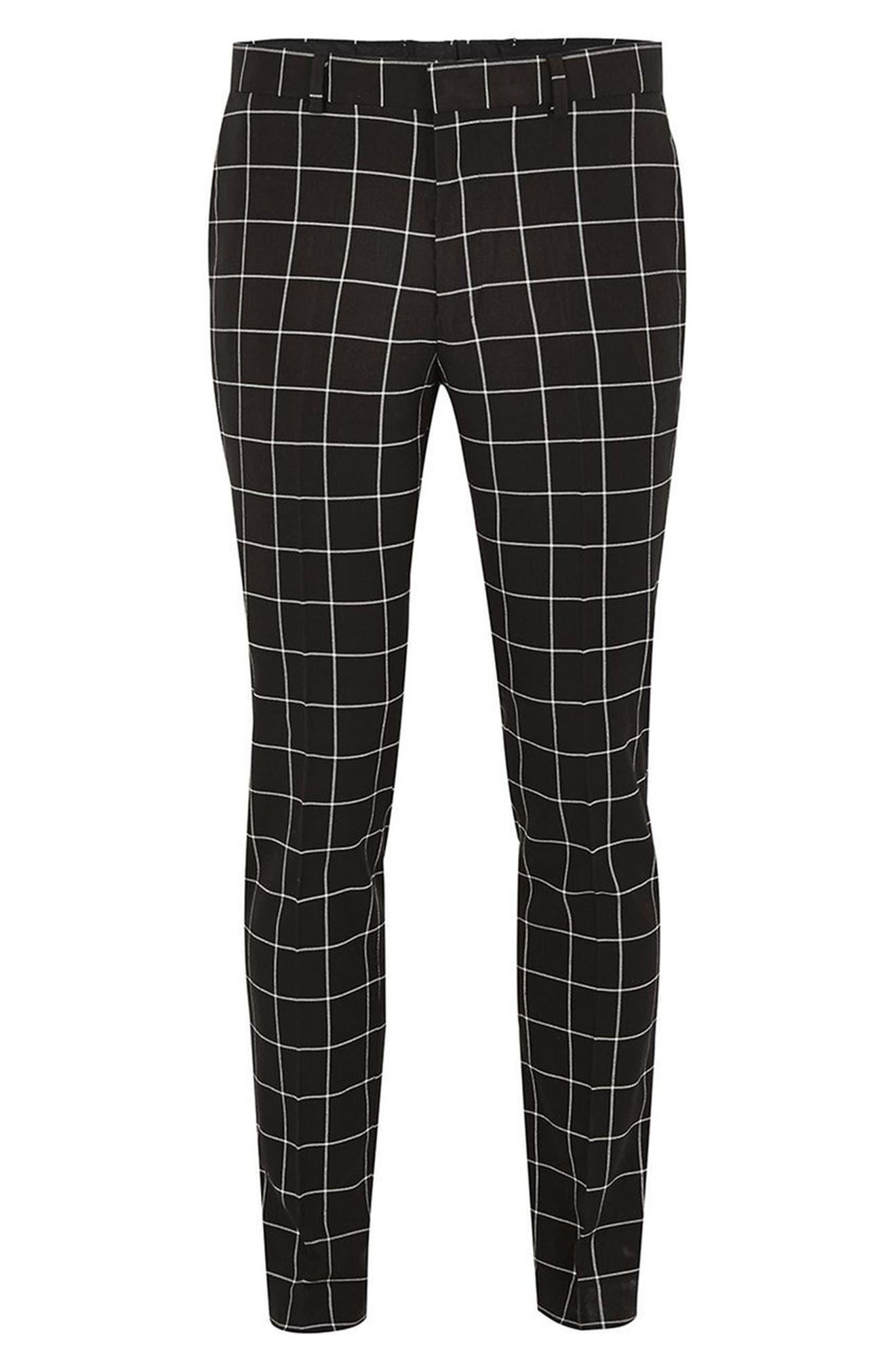 Skinny Fit Windowpane Suit Trousers,                             Alternate thumbnail 4, color,                             Black Multi