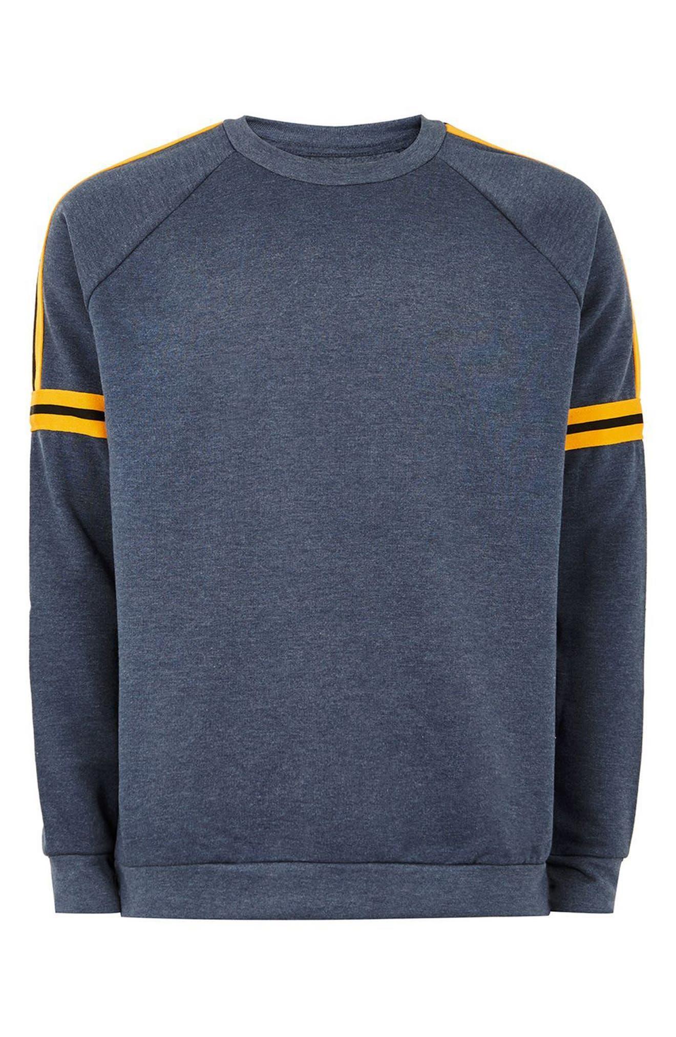 Tape Crewneck Sweatshirt,                             Alternate thumbnail 4, color,                             Dark Blue