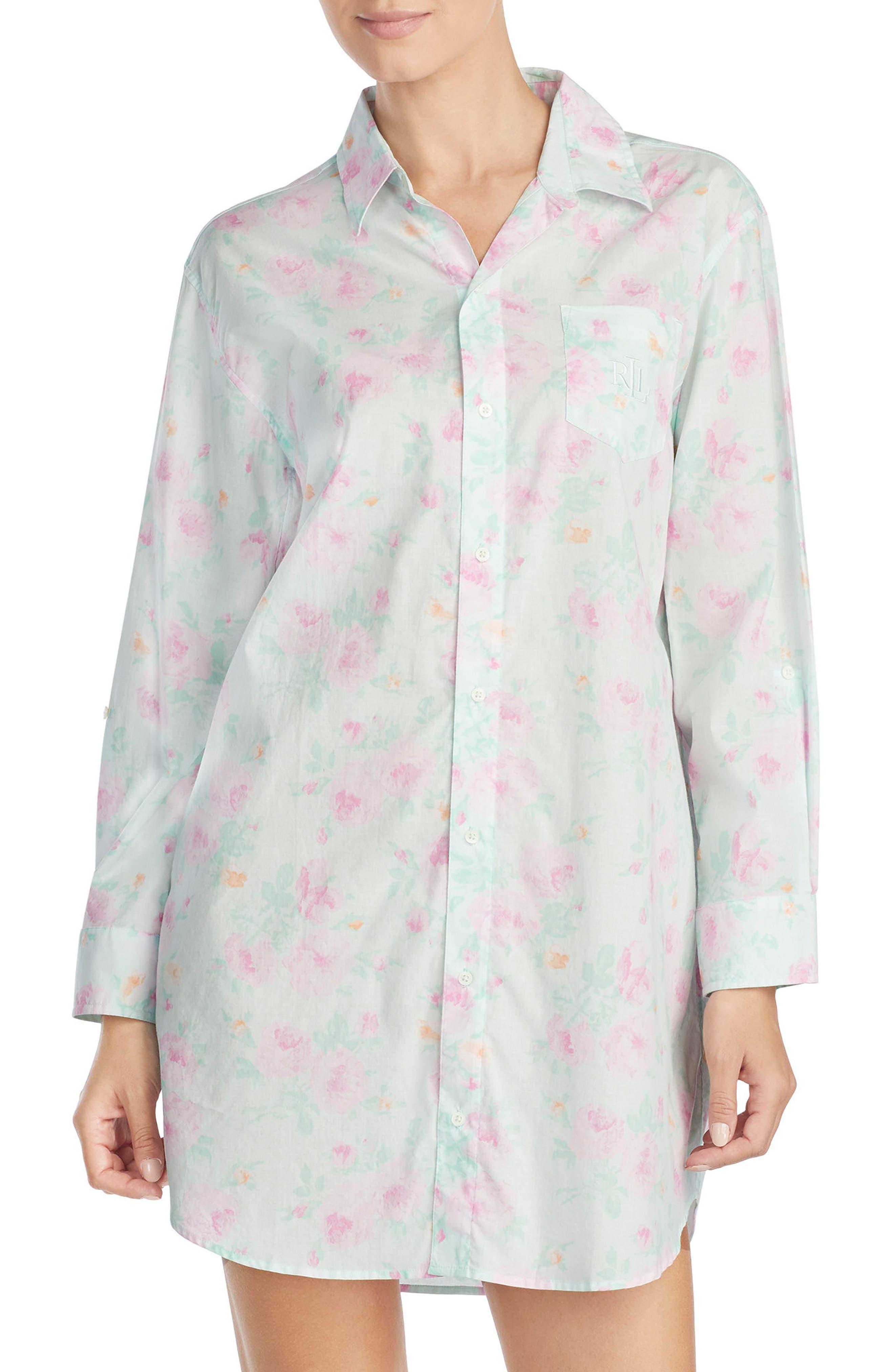 Print Sleep Shirt,                             Main thumbnail 1, color,                             Mint/ Pink Flower