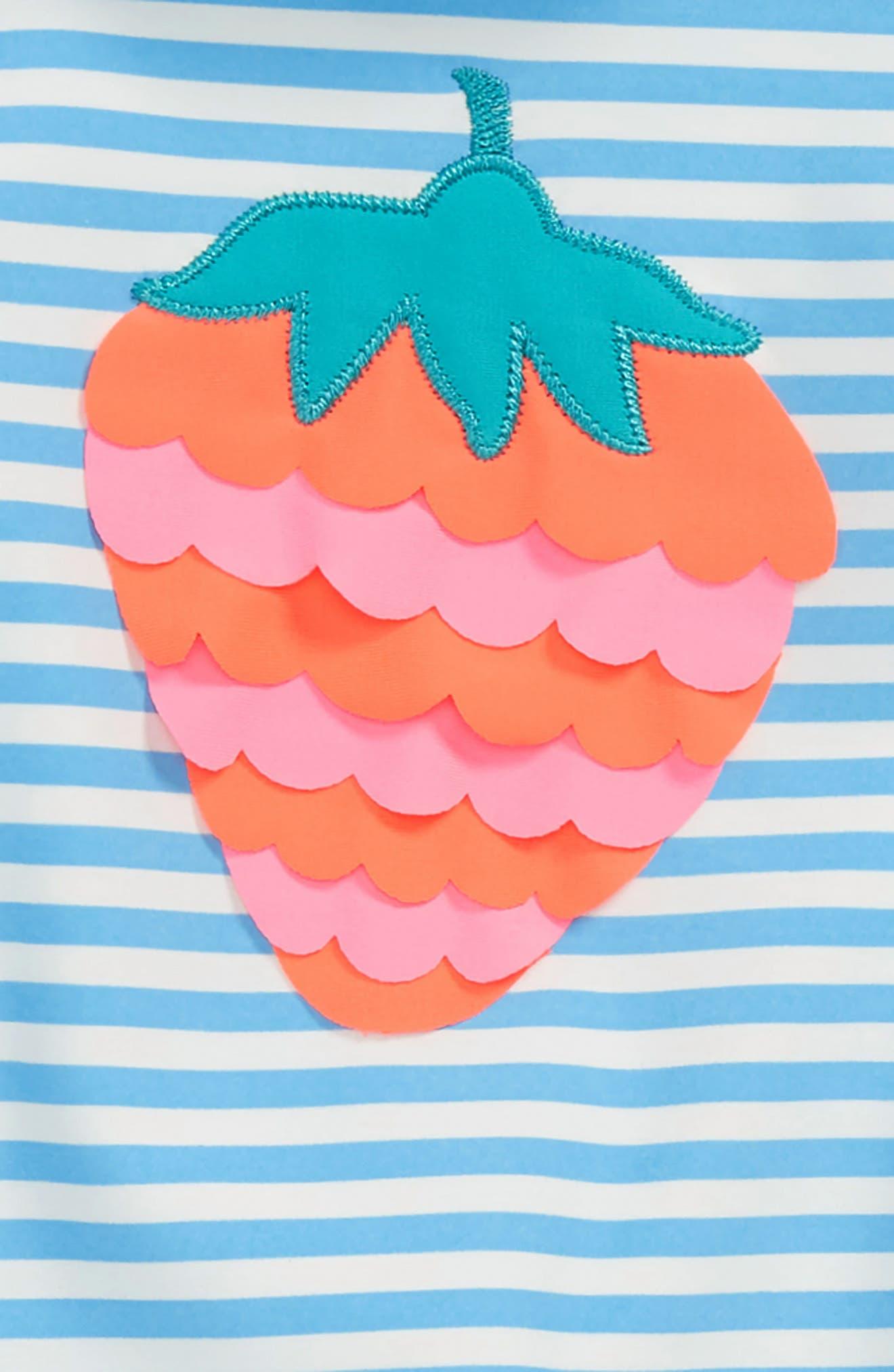 Two-Piece Rashguard Swimsuit,                             Alternate thumbnail 2, color,                             Candy Blue/ Ivory Stripe