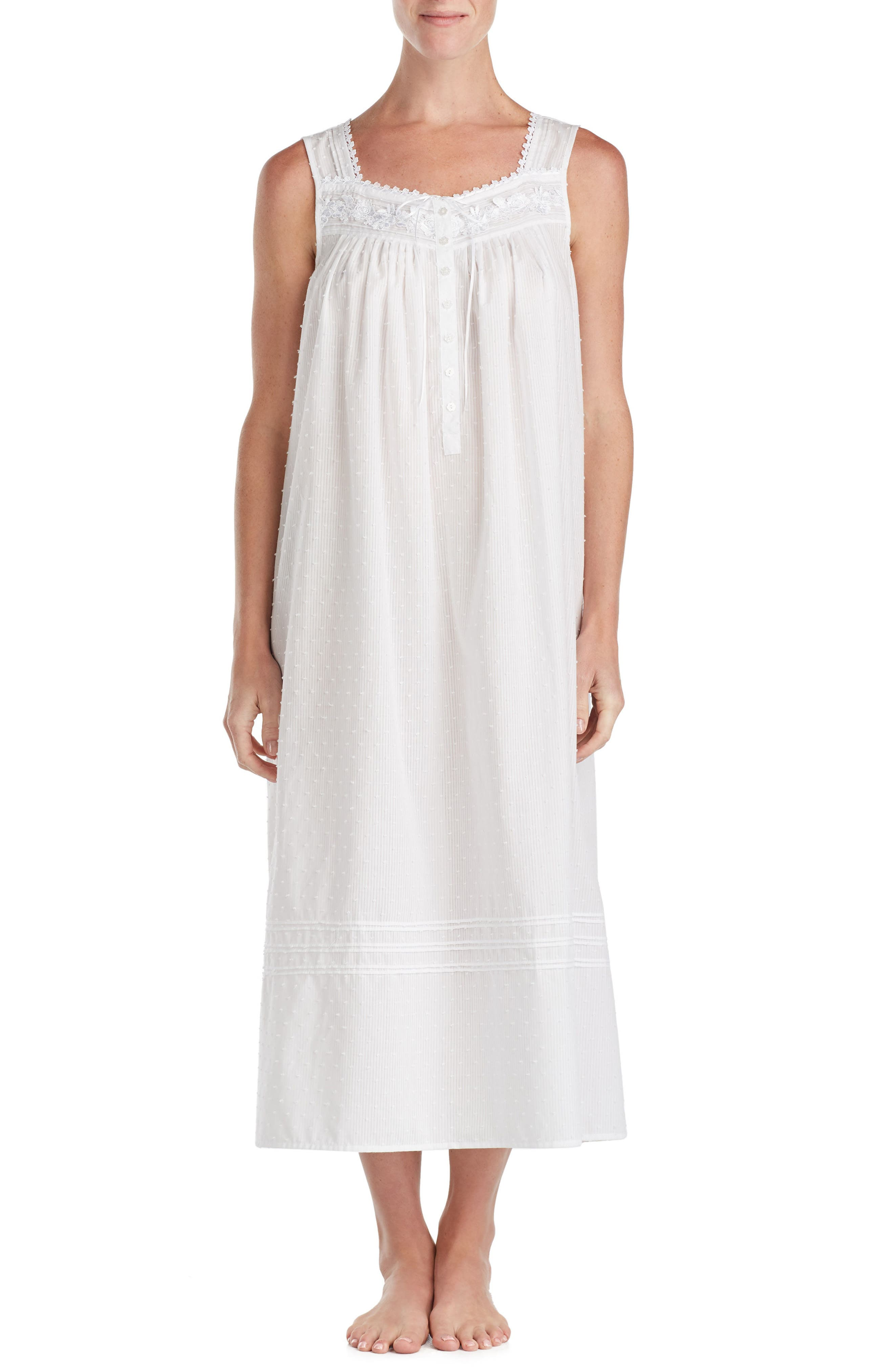 Swiss Dot Nightgown,                         Main,                         color, White