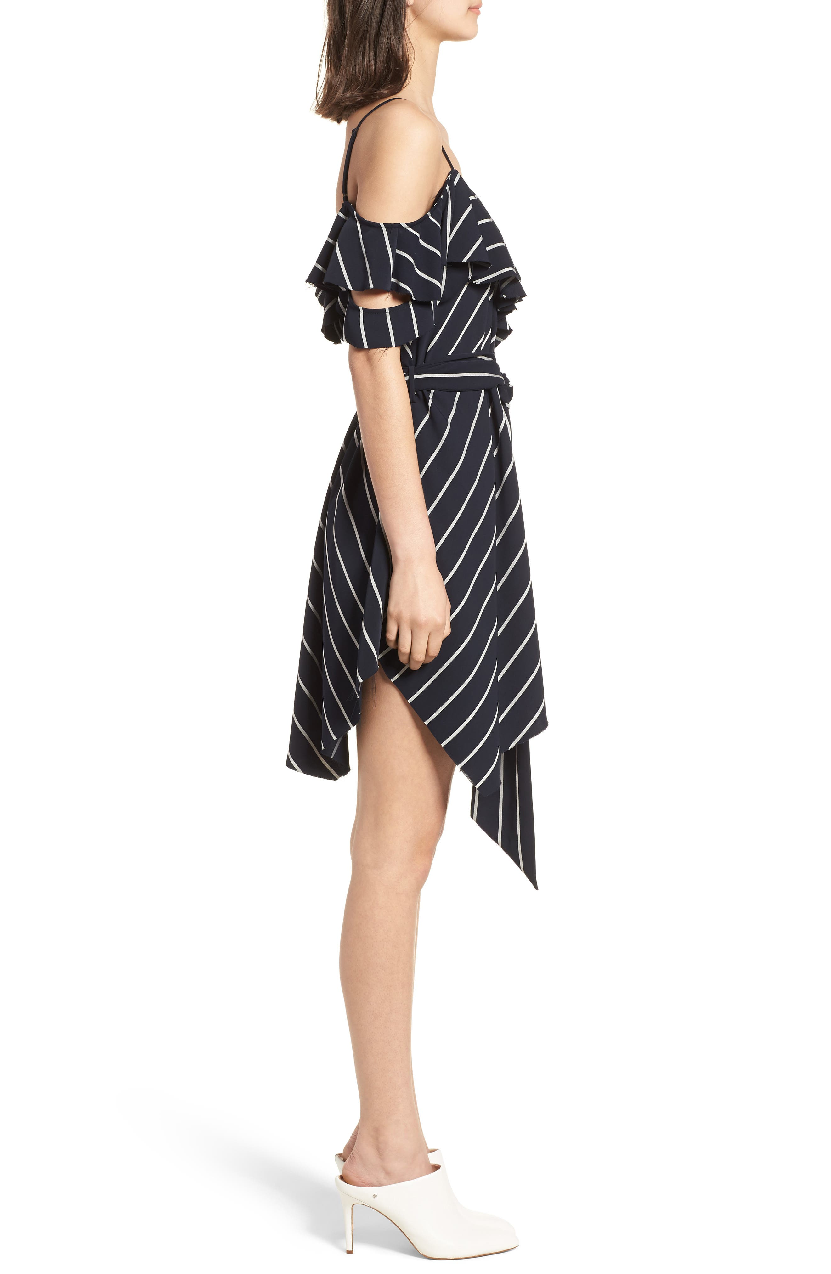 Pinstripe Ruffle Wrap Dress,                             Alternate thumbnail 3, color,                             Navy/ White