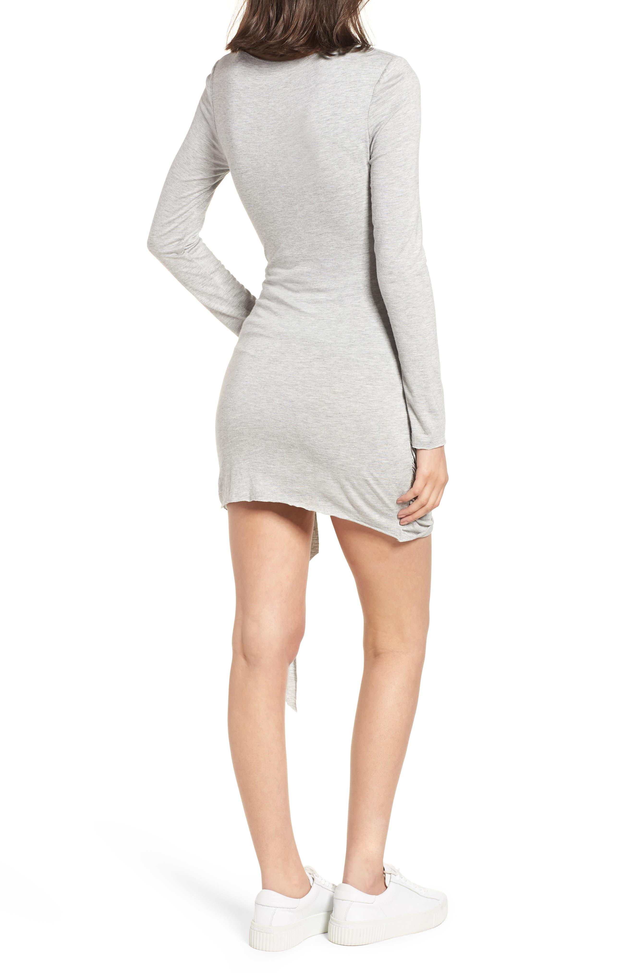 V-Neck Dress,                             Alternate thumbnail 2, color,                             Heather Grey