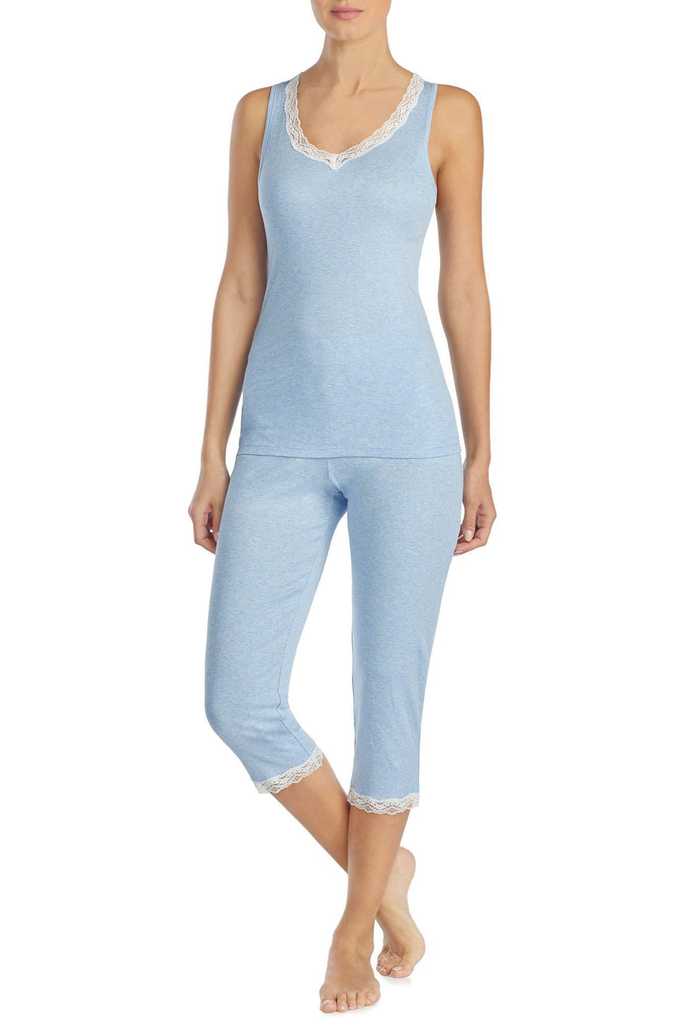 Alternate Image 1 Selected - Lauren Ralph Lauren Lace Trim Capri Pajamas