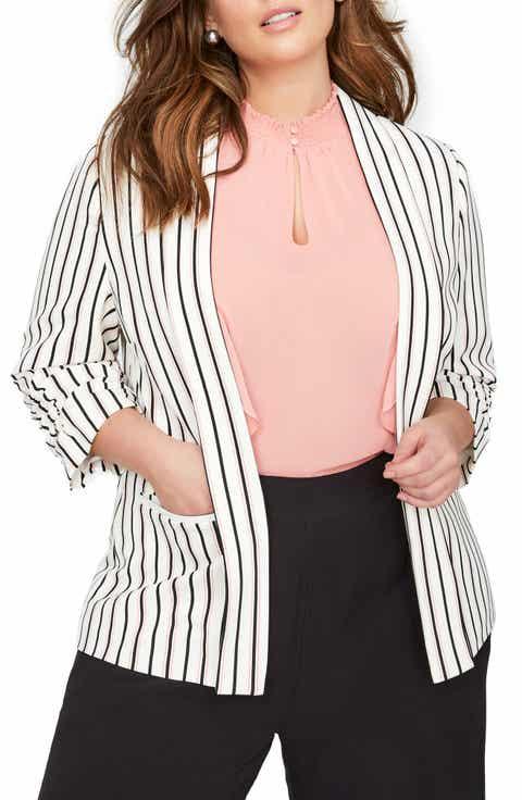 MICHEL STUDIO Shawl Collar Stripe Blazer (Plus Size)