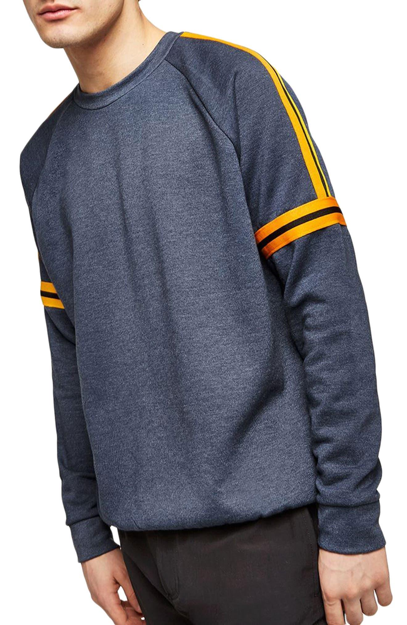 Tape Crewneck Sweatshirt,                         Main,                         color, Dark Blue