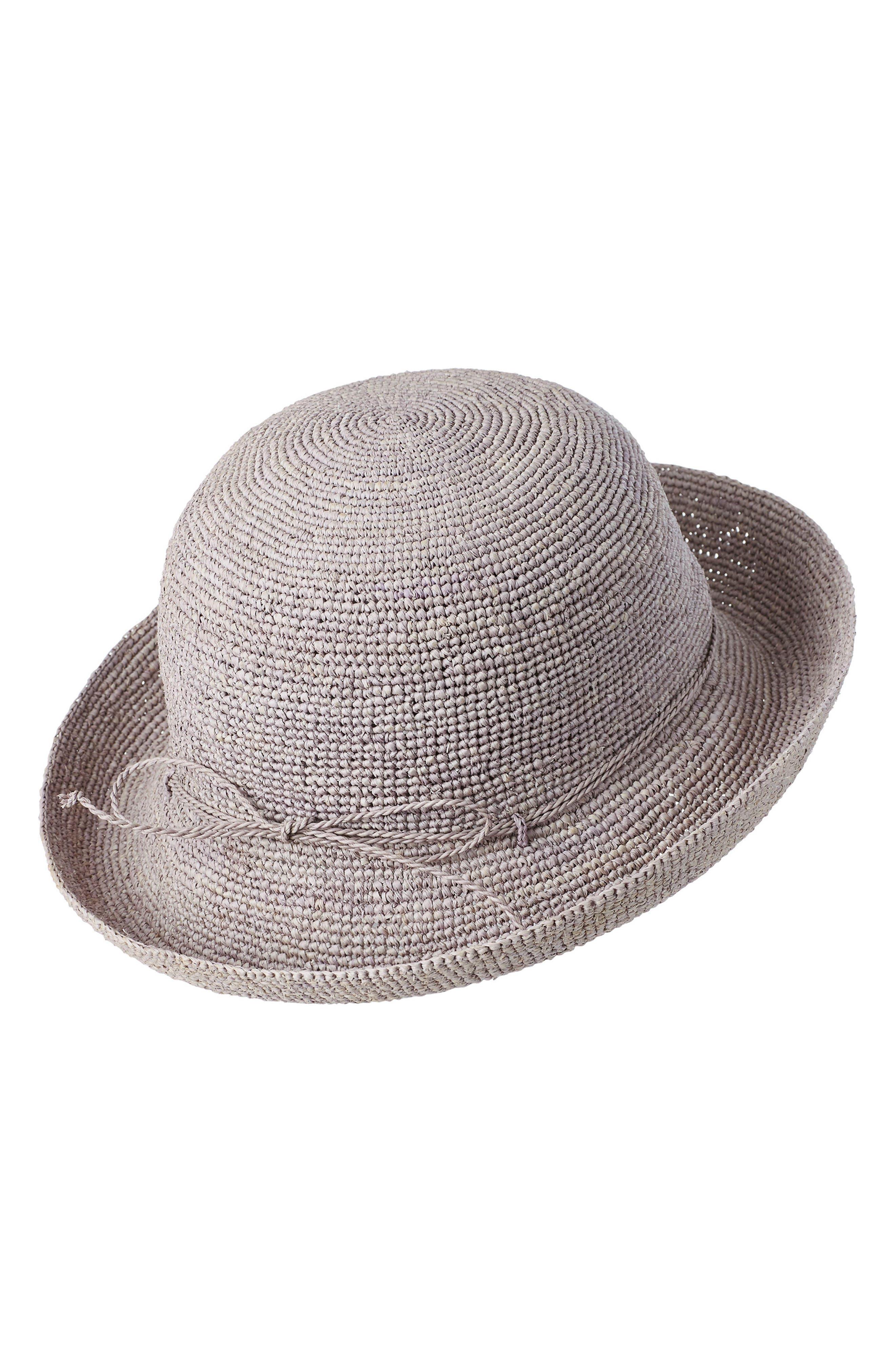 HELEN KAMINSKI CLASSIC UPTURN CROCHETED RAFFIA HAT - GREY