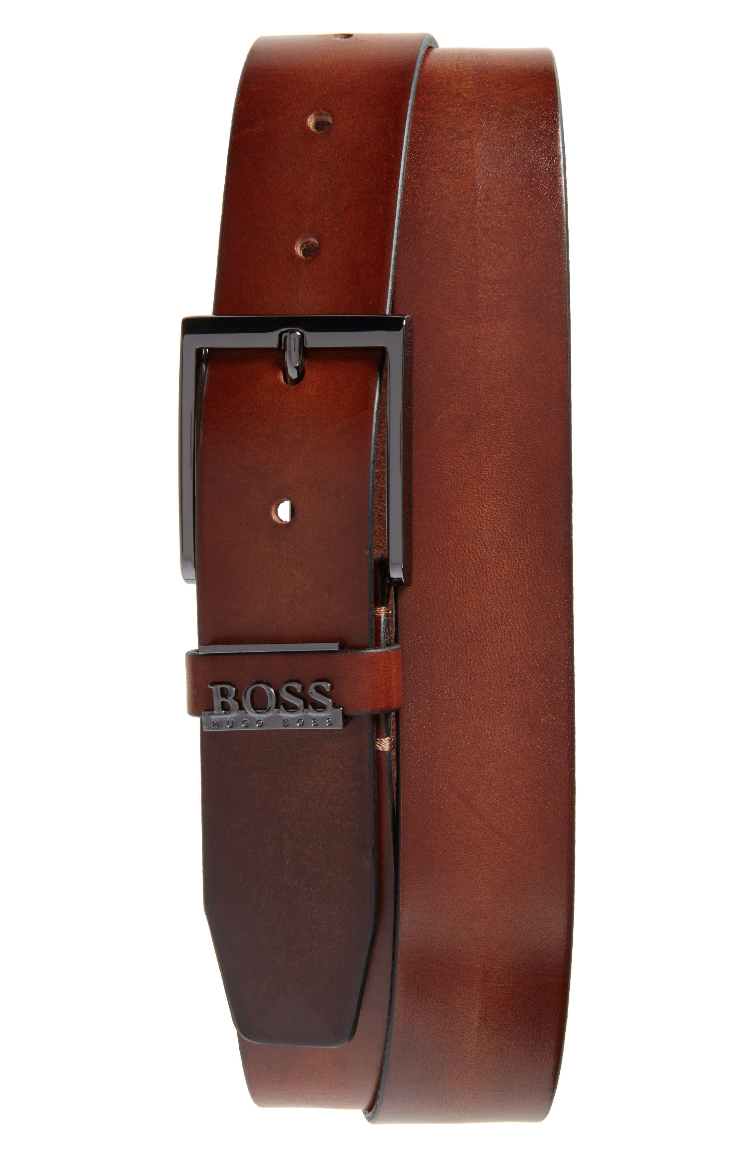 Senol Leather Belt,                             Main thumbnail 1, color,                             Medium Brown