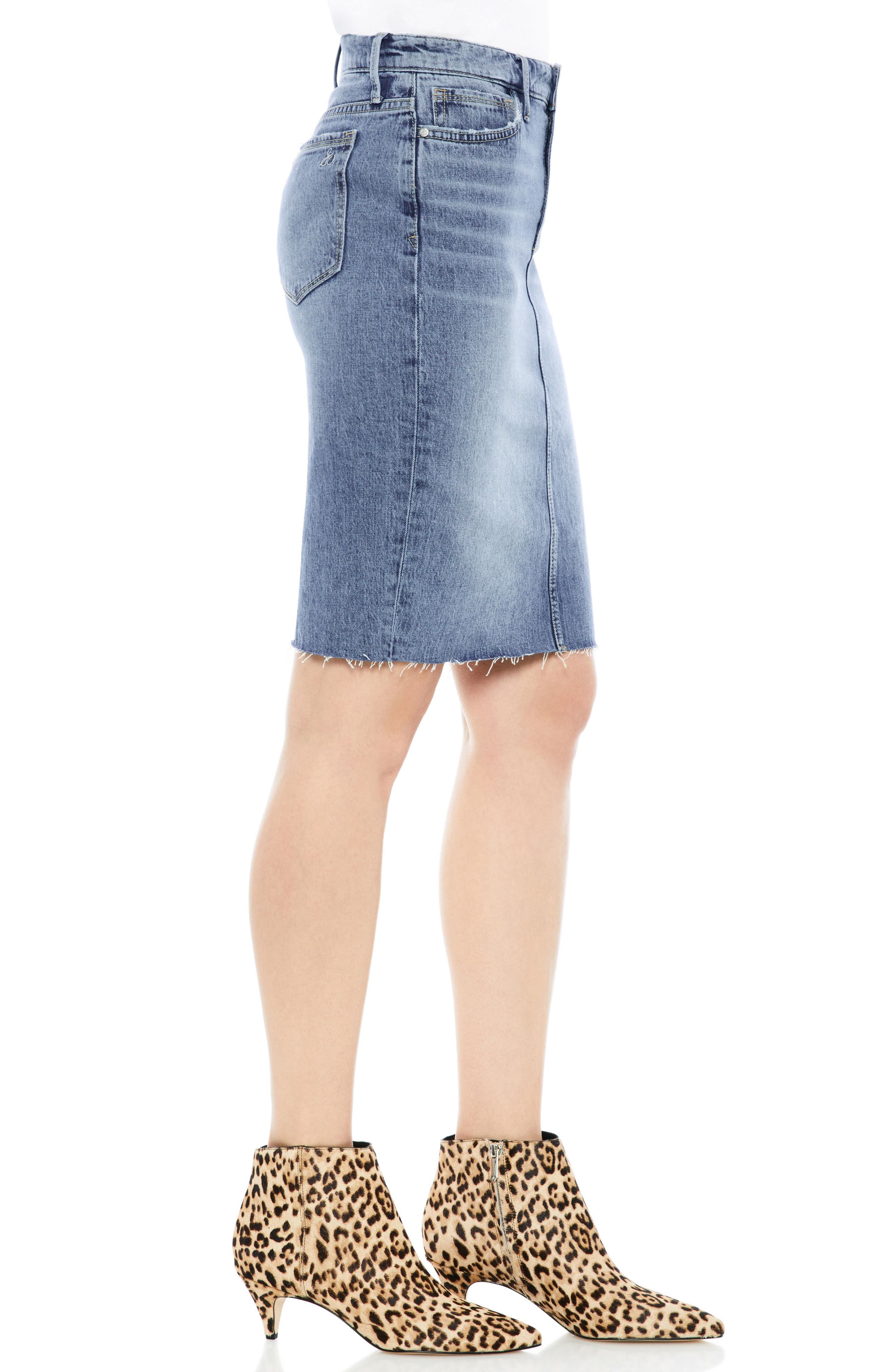 The Riley Stretch Denim Skirt,                             Alternate thumbnail 3, color,                             Benji