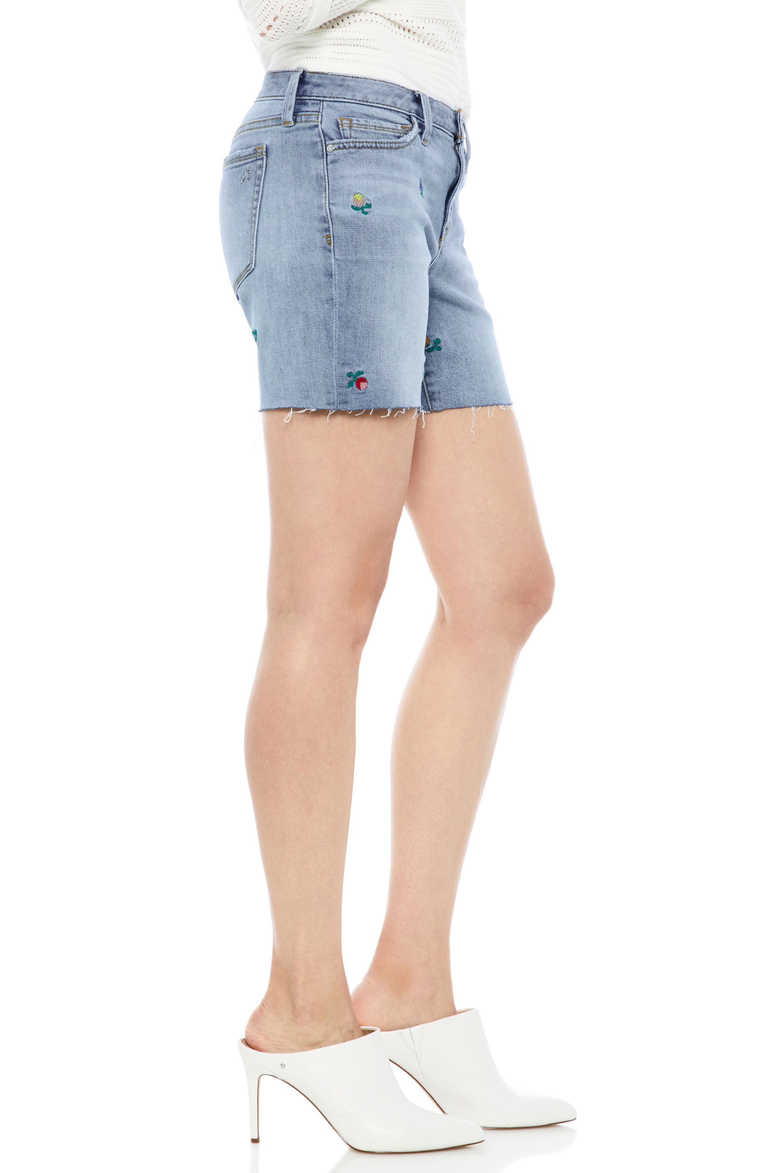 The Derby Embroidered Denim Bermuda Shorts,                             Alternate thumbnail 3, color,                             Fannie