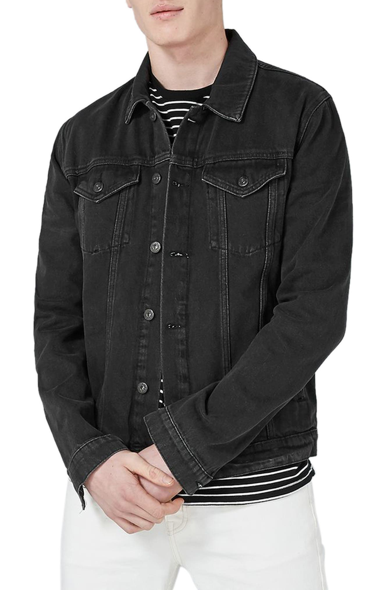 Western Denim Jacket,                             Main thumbnail 1, color,                             Black