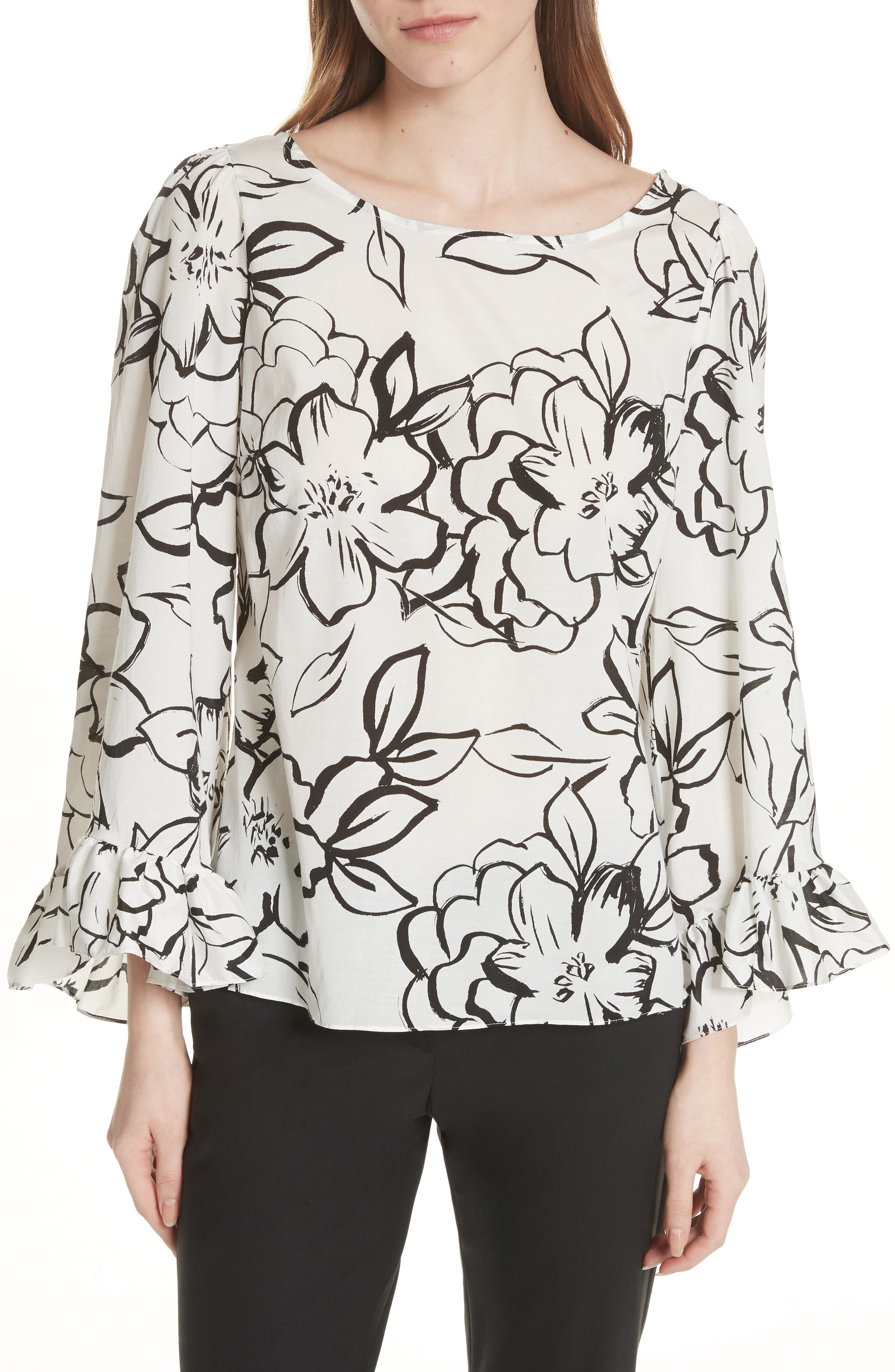 Flounced Floral Top,                             Main thumbnail 1, color,                             Neutral Floral