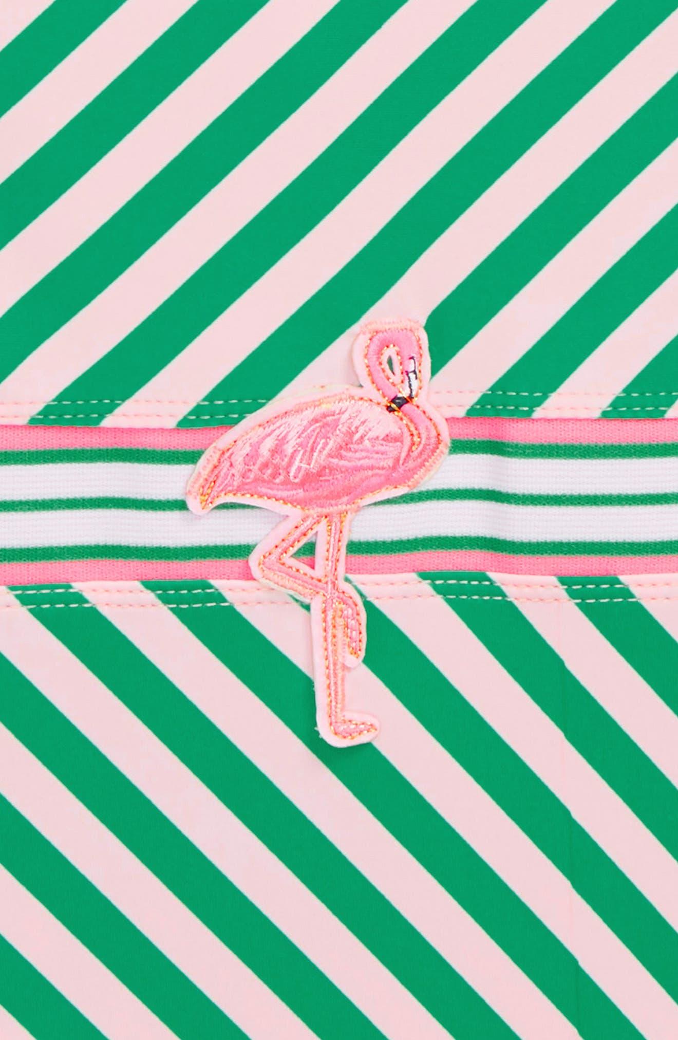 Flamingo Belt One-Piece Swimsuit,                             Alternate thumbnail 2, color,                             Green Stripe