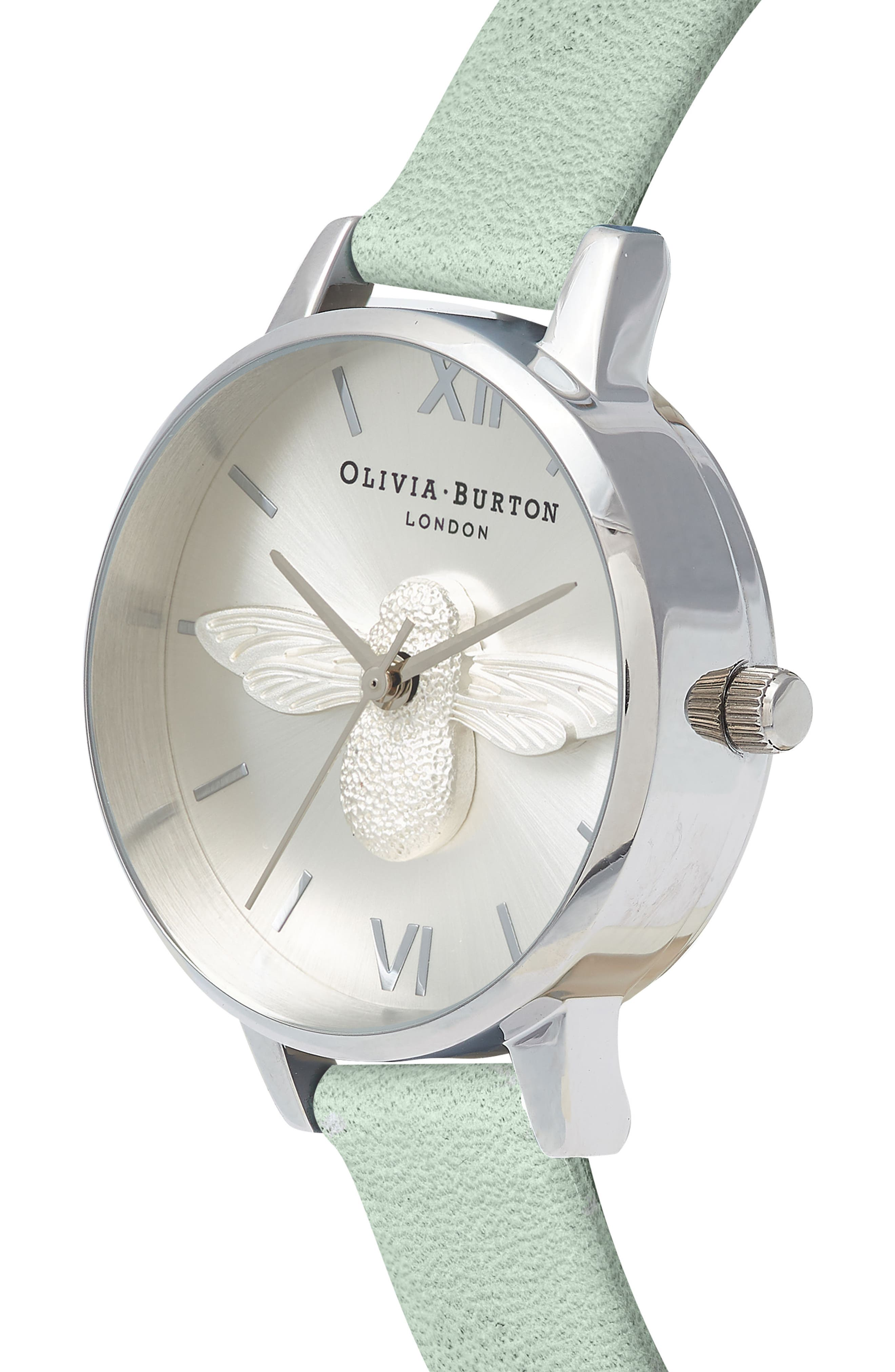 3D Bee Leather Strap Watch, 30mm,                             Alternate thumbnail 3, color,                             Sage/ Bee/ Silver