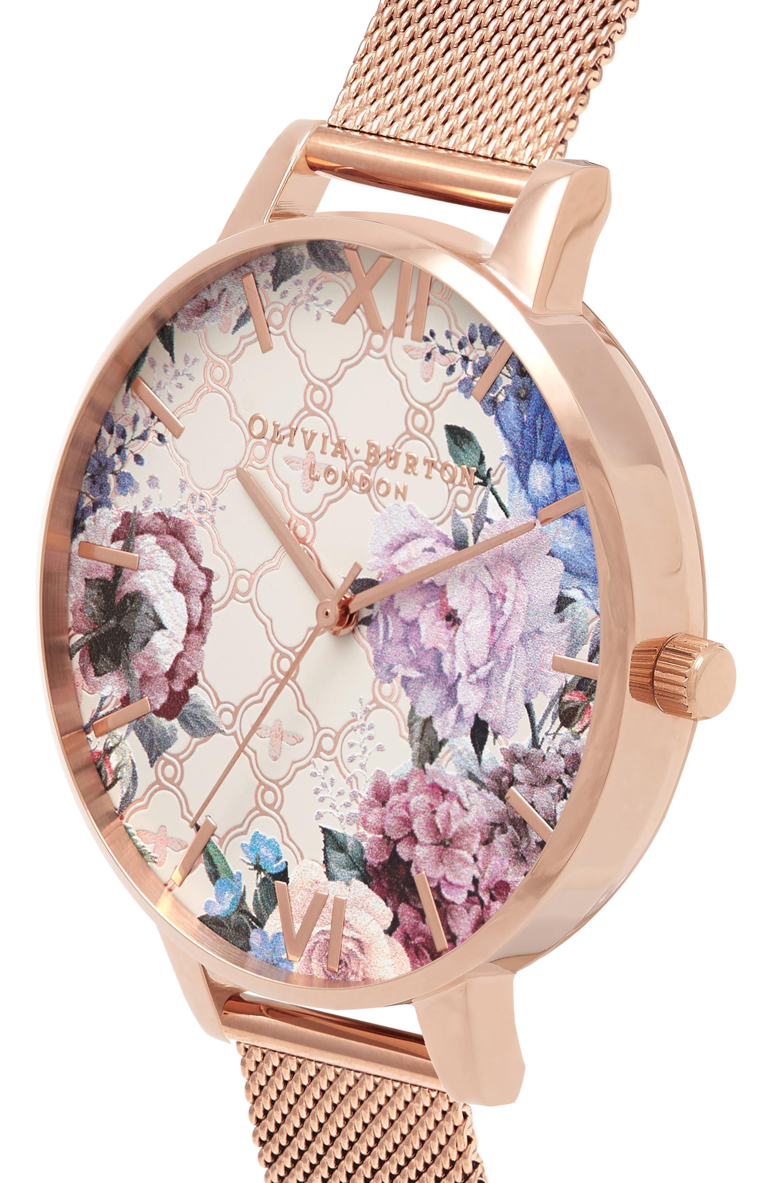 Glasshouse Mesh Strap Watch, 38mm,                             Alternate thumbnail 3, color,                             Rose Gold/ Floral/ Rose Gold