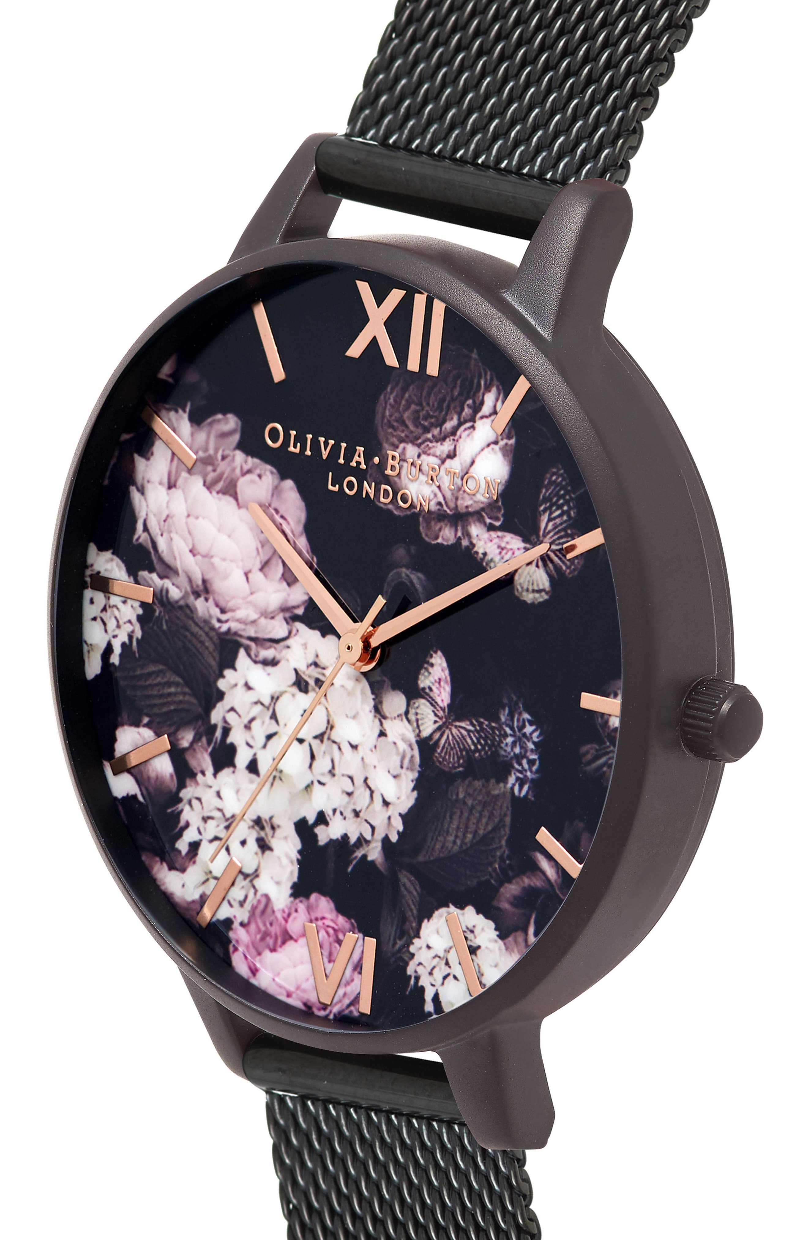 Signature Floral Mesh Strap Watch, 38mm,                             Alternate thumbnail 3, color,                             Black/ Floral/ Rose Gold