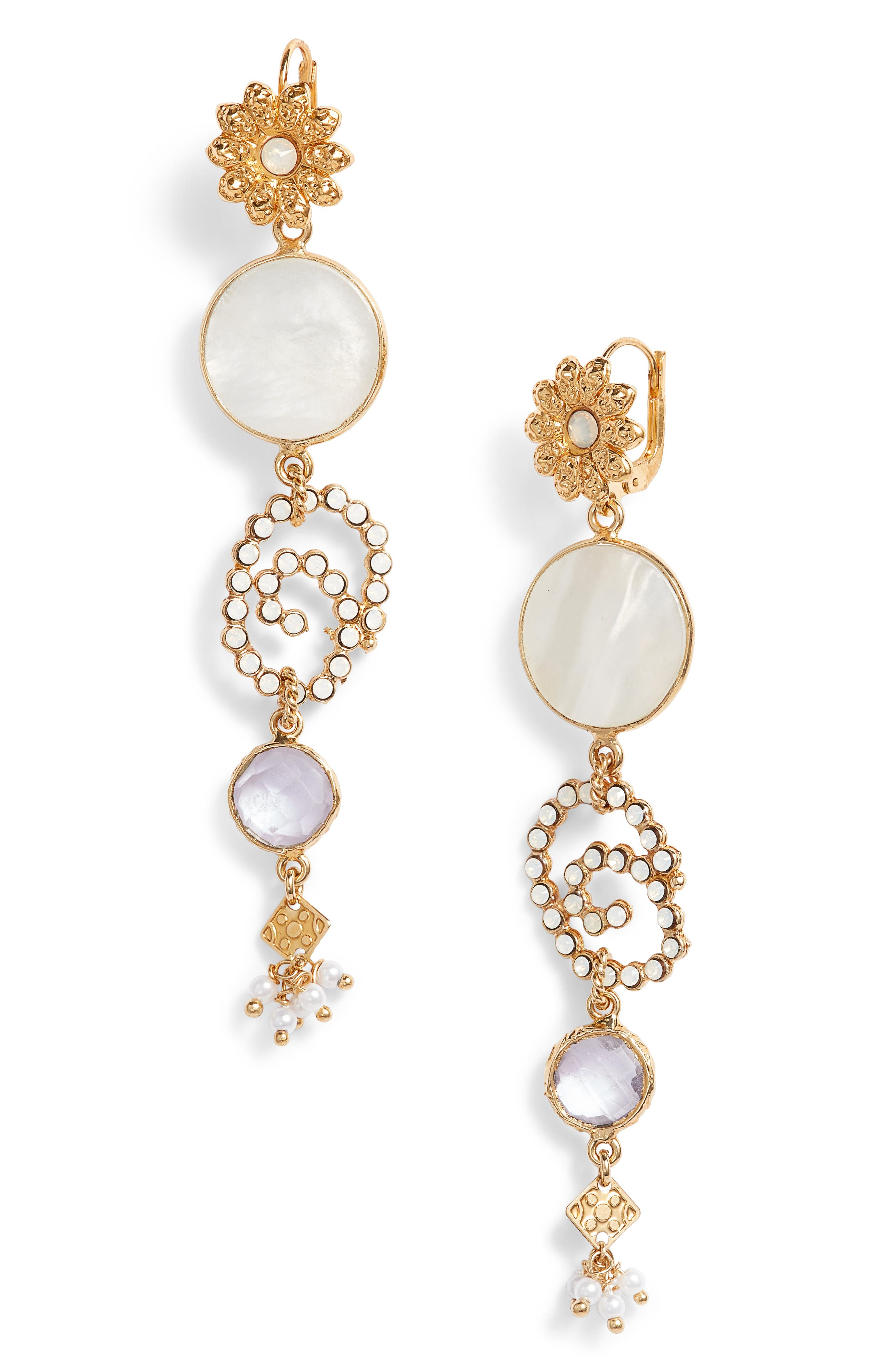 Drop Earrings,                         Main,                         color, White