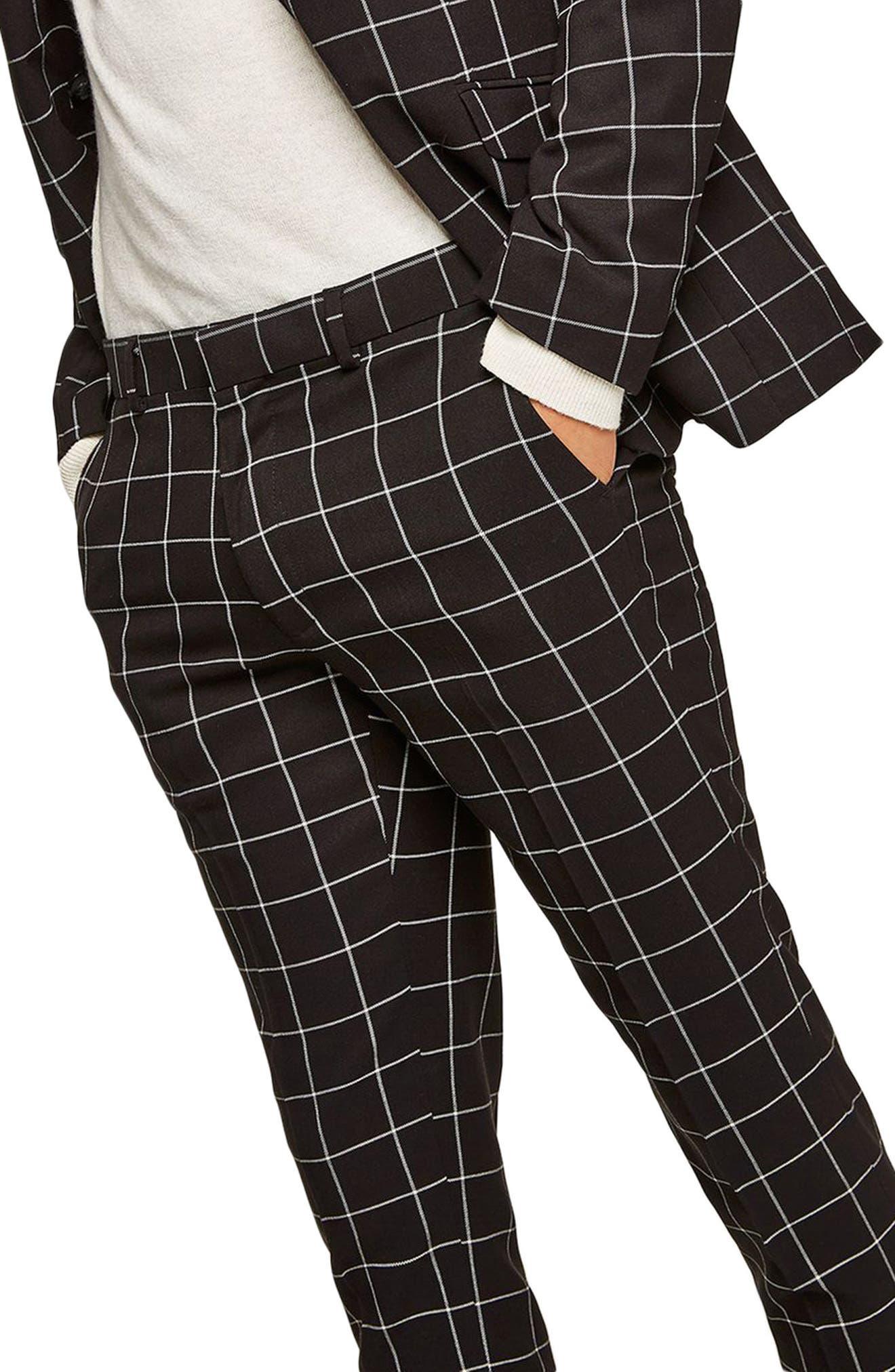 Skinny Fit Windowpane Suit Trousers,                             Alternate thumbnail 3, color,                             Black Multi