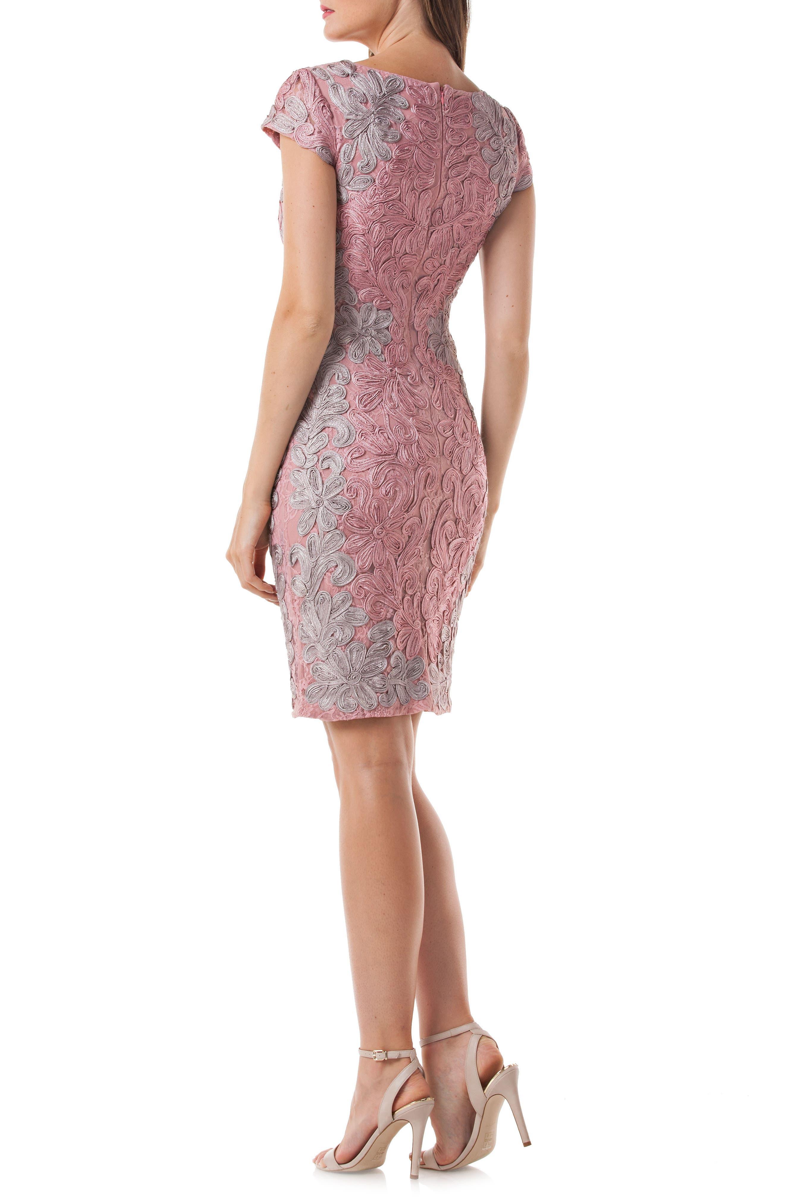 Contrast Soutache Sheath Dress,                             Alternate thumbnail 2, color,                             Pink/ Taupe