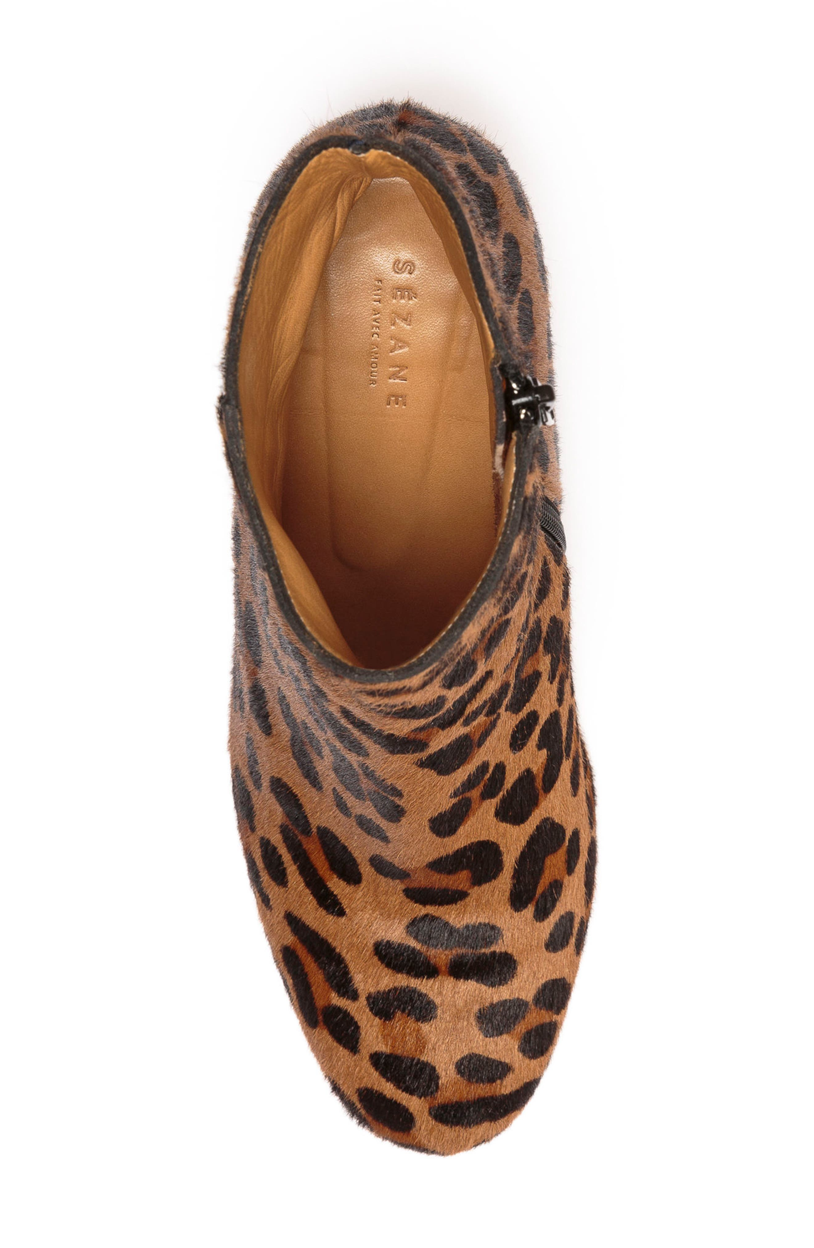 Léa Genuine Calf Hair Bootie,                             Alternate thumbnail 4, color,                             Leopard Print Leather