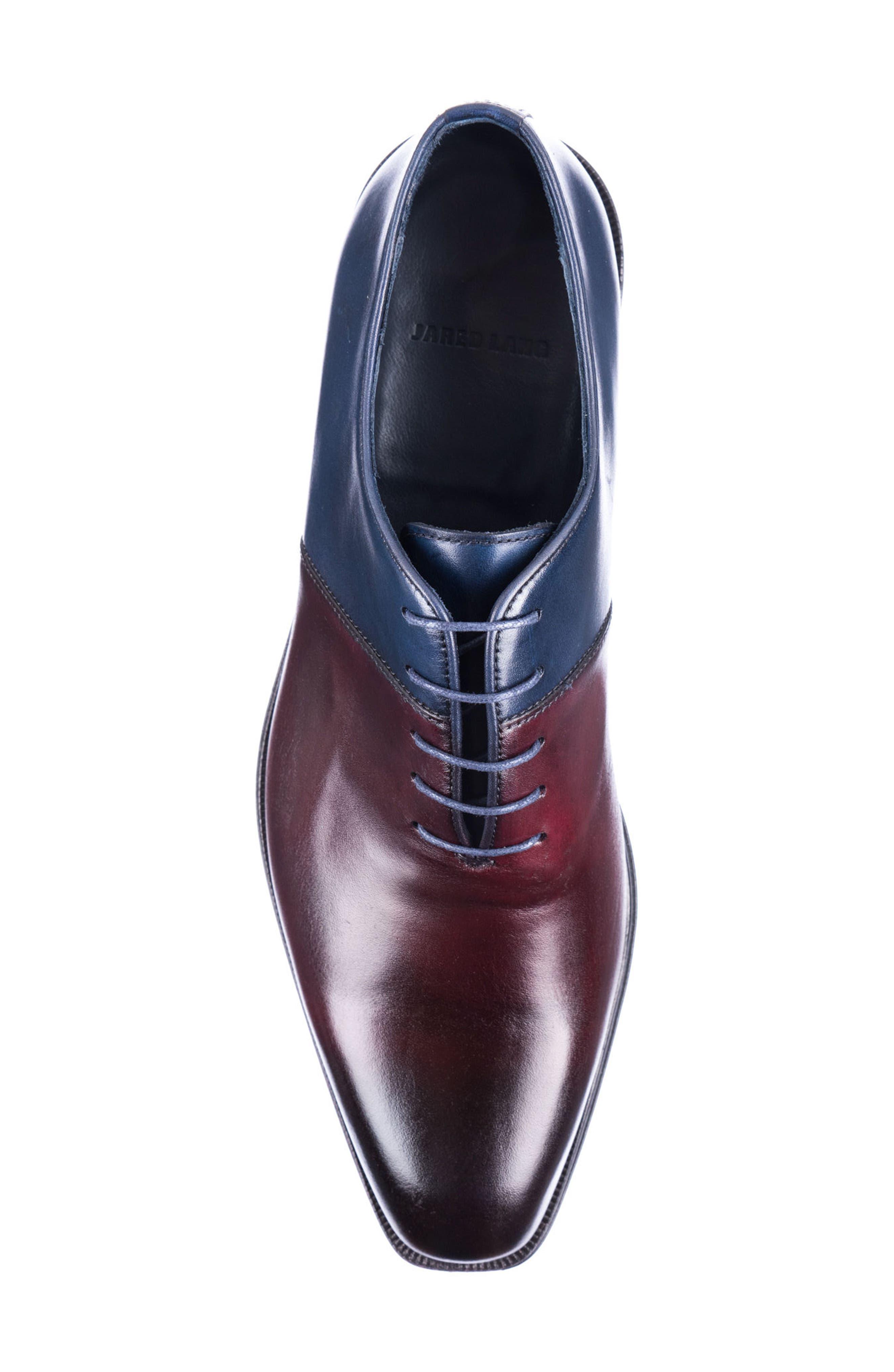 Wyatt Colorblocked Whole Cut Shoe,                             Alternate thumbnail 5, color,                             Burgundy Leather