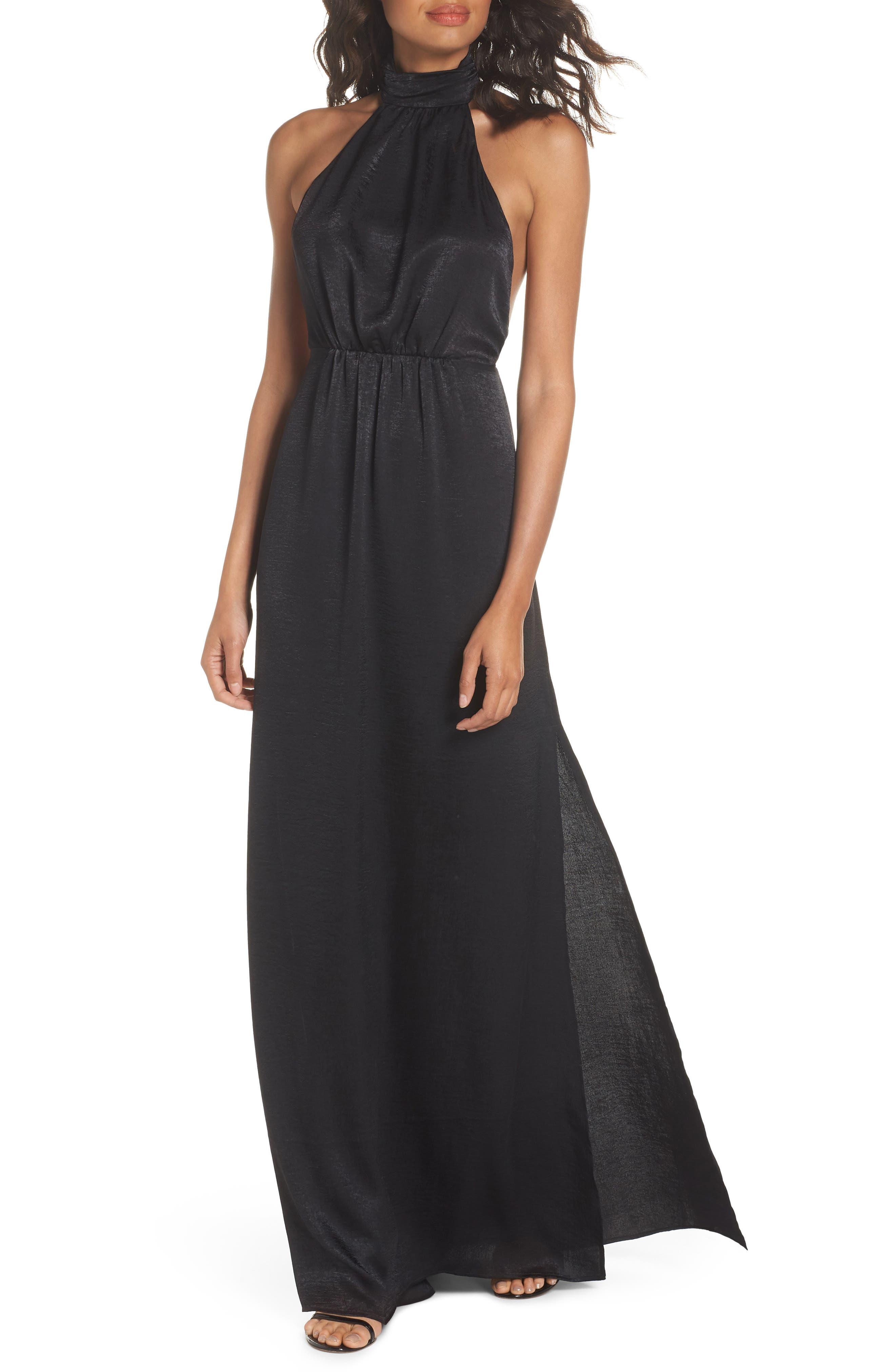 Collette Halter Gown,                         Main,                         color, Black Sheen