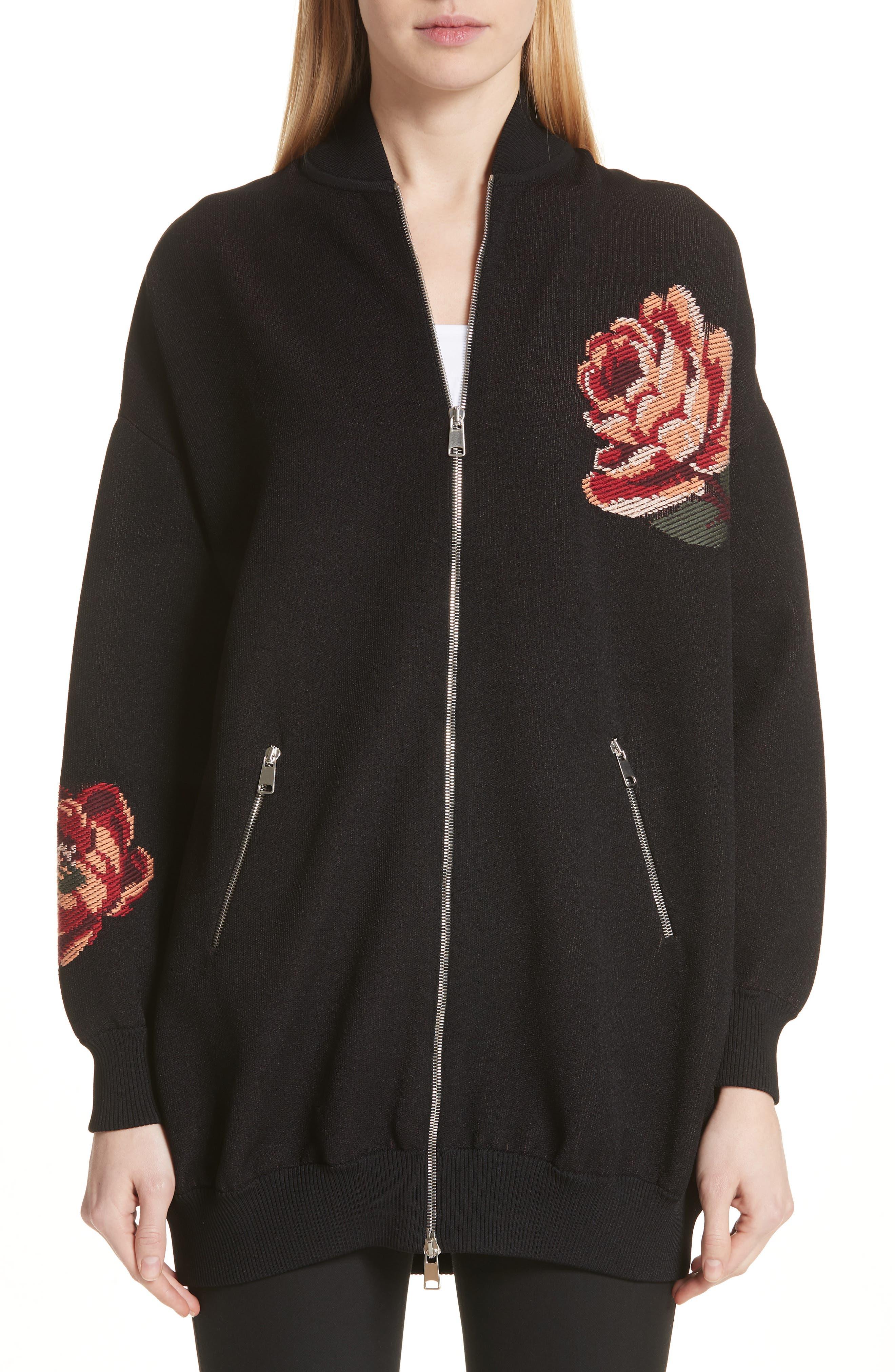 Alexander McQueen Floral Knit Bomber Jacket