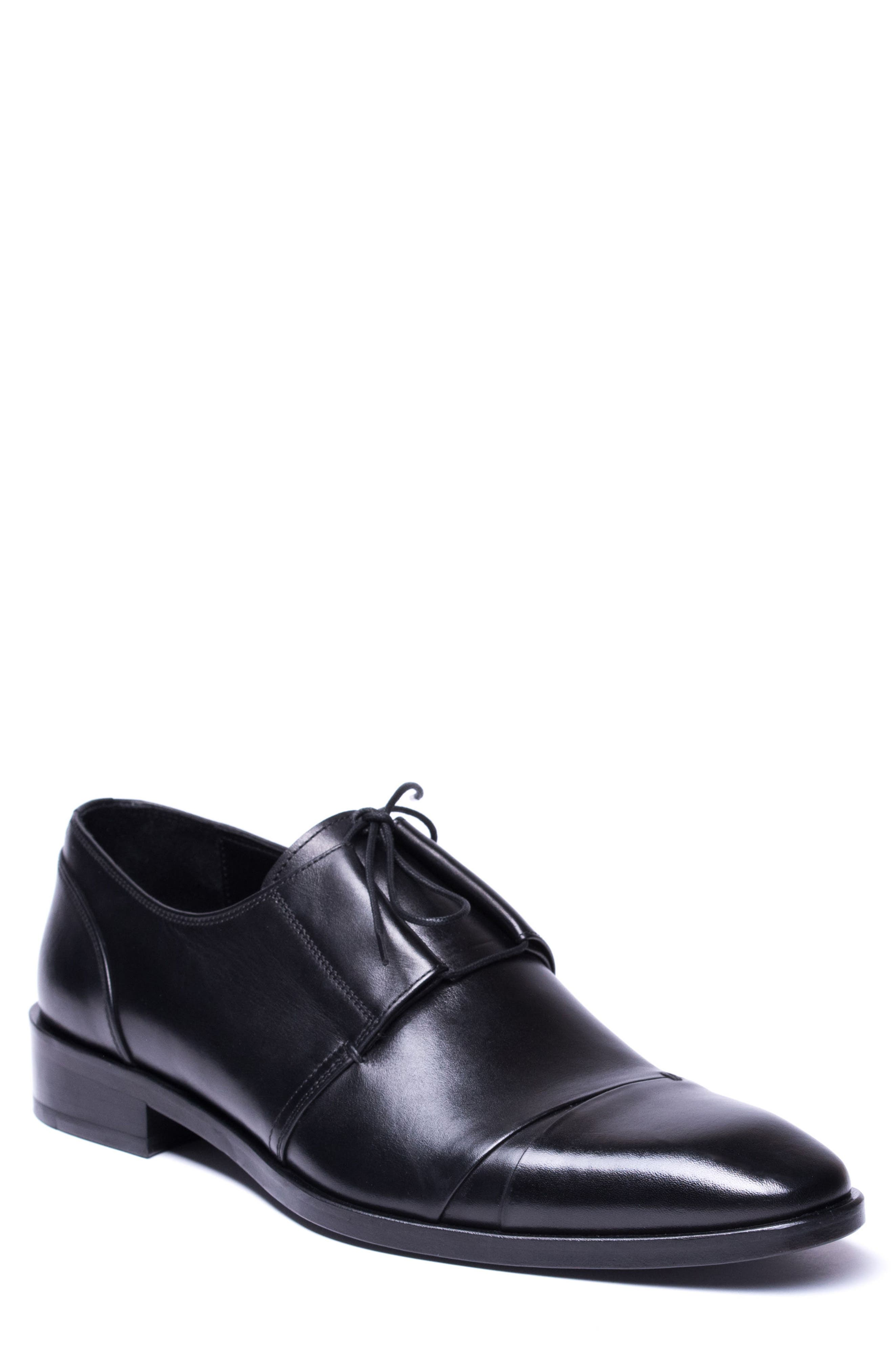 Danny Cap Toe Derby,                         Main,                         color, Black Leather
