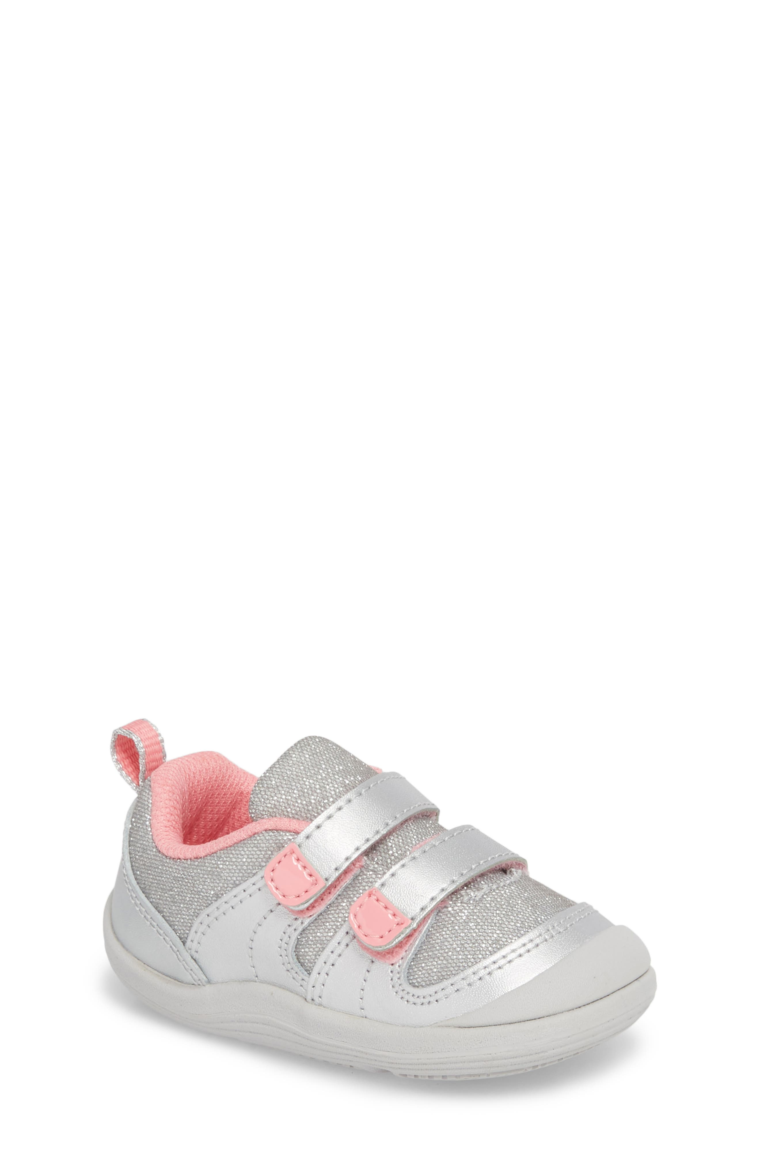 Maura Metallic Sneaker,                         Main,                         color, Silver/ Pink Leather