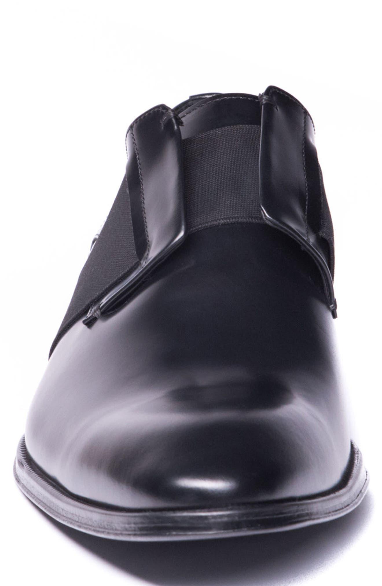 Emilo Laceless Derby,                             Alternate thumbnail 4, color,                             Black Leather