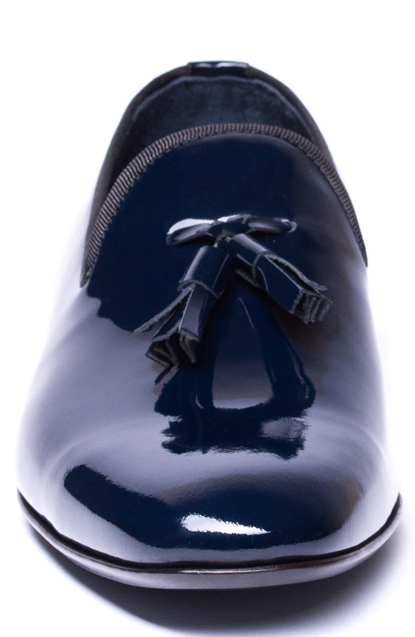 Enzo Tasseled Venetian Loafer,                             Alternate thumbnail 4, color,                             Navy Leather