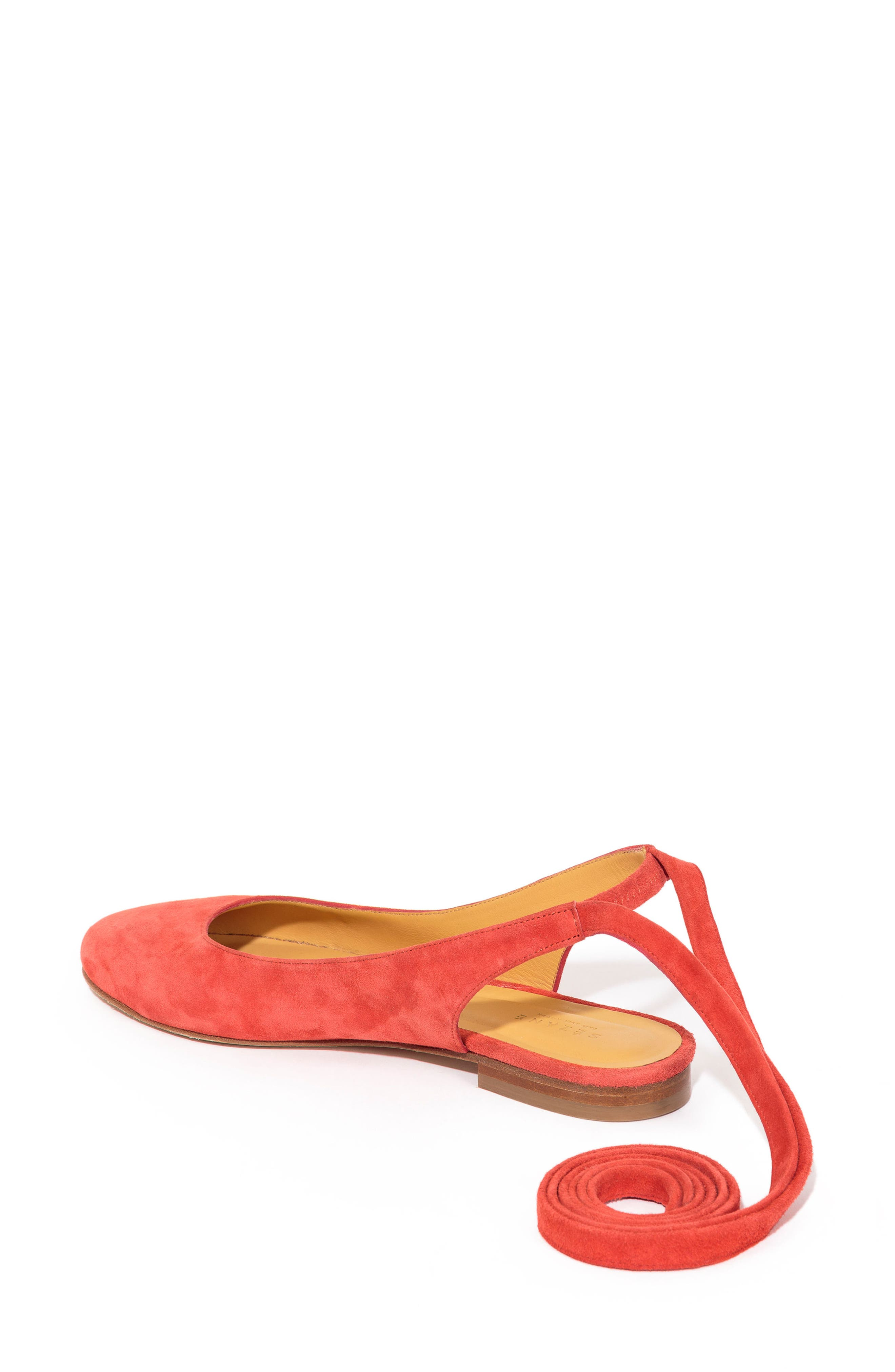 Nina Ballerina Ankle Wrap Flat,                             Alternate thumbnail 3, color,                             Coral Red Suede