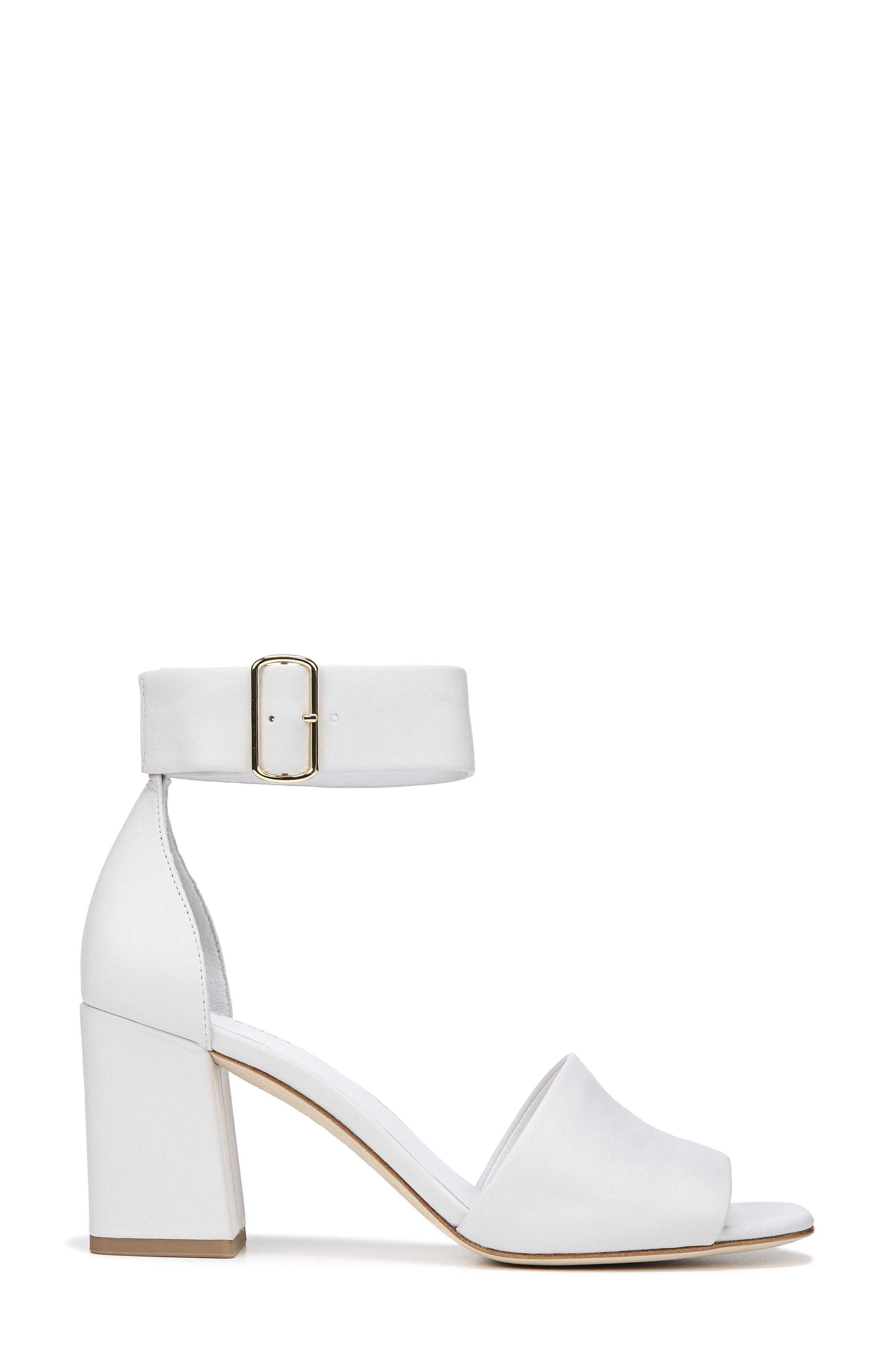 Evonne Ankle Strap Sandal,                             Alternate thumbnail 3, color,                             Porcelain Leather