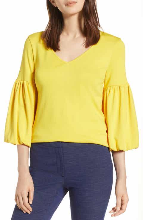 Halogen® Blouson Sleeve Cotton Top (Regular & Petite)