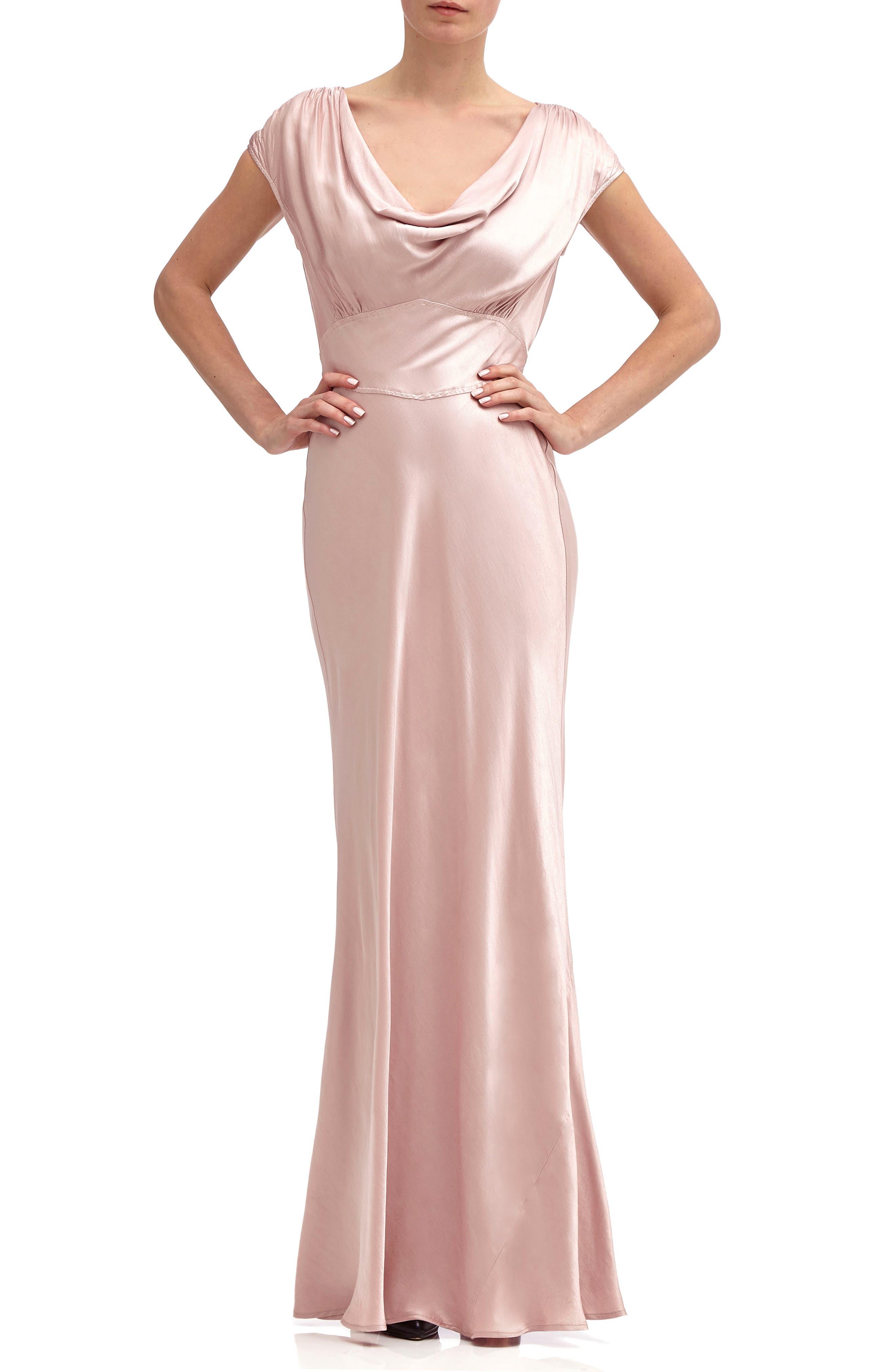 Fern Cowl Neck Gown,                             Main thumbnail 1, color,                             Boudoir Pink