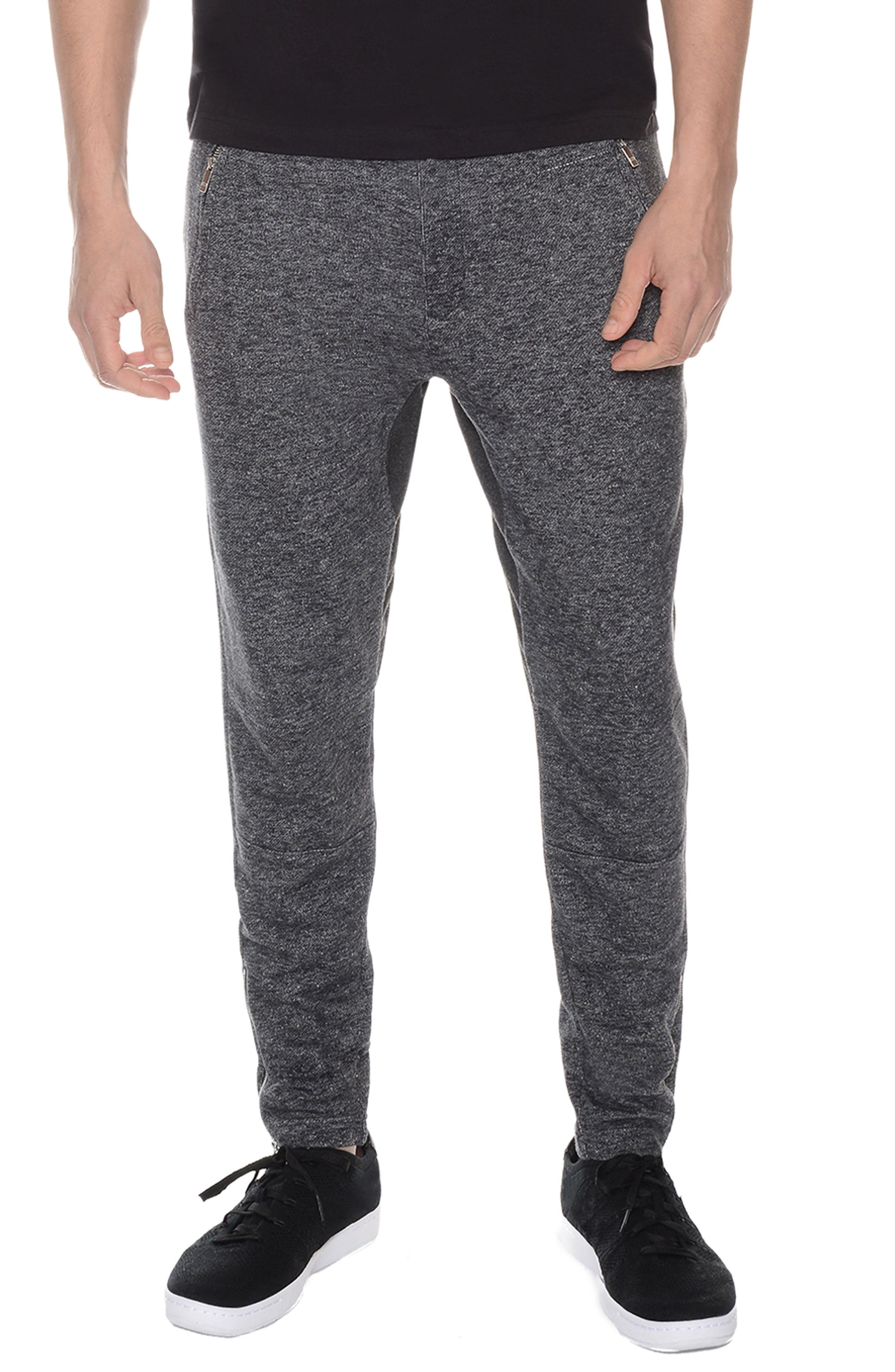 French Terry Lounge Pants,                         Main,                         color, Black Heather