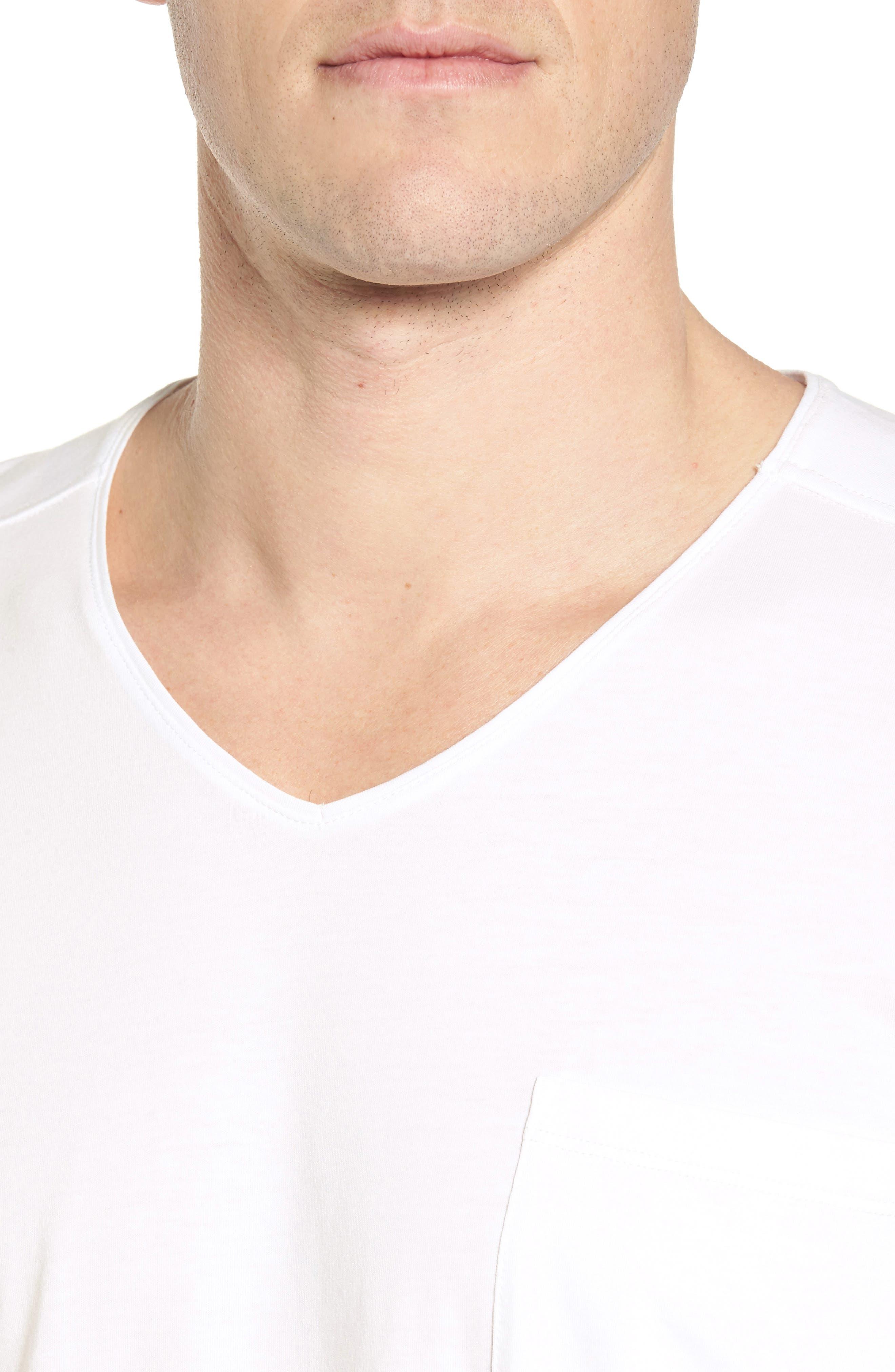 V-Neck Stretch Cotton Blend T-Shirt,                             Alternate thumbnail 4, color,                             Red/ Navy