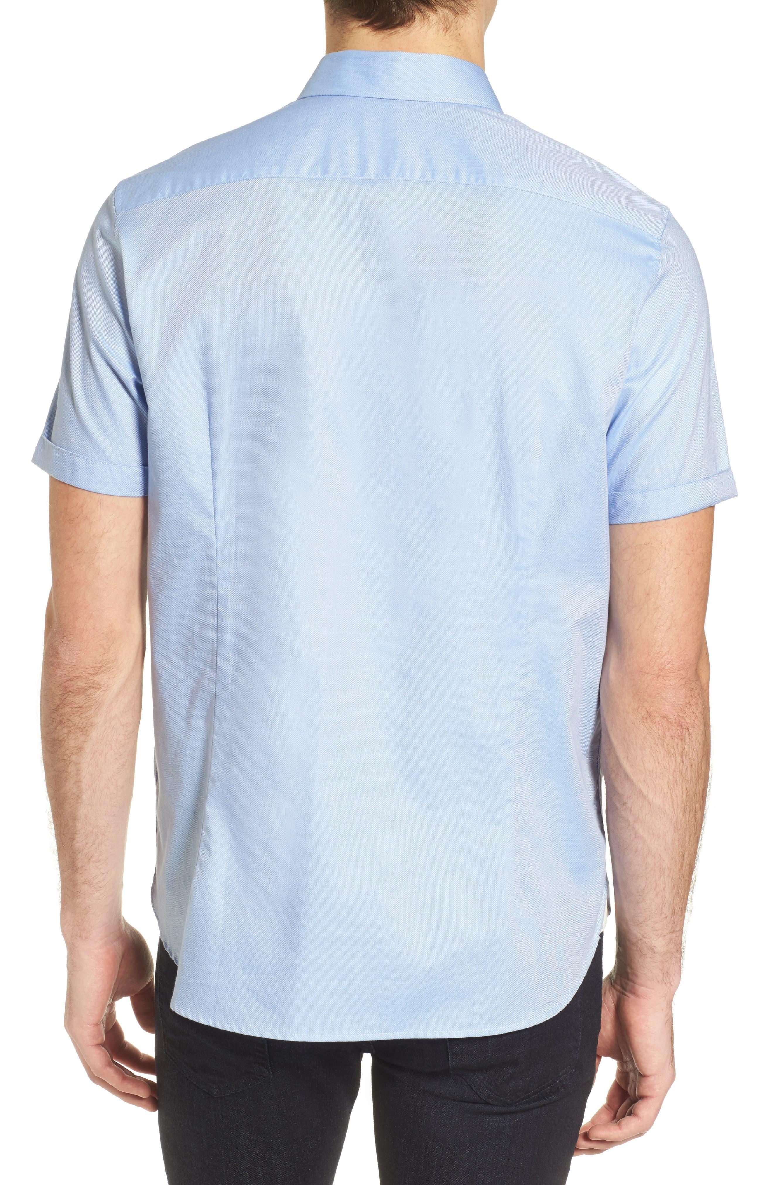 Wallott Extra Slim Fit Short Sleeve Sport Shirt,                             Alternate thumbnail 3, color,                             Blue