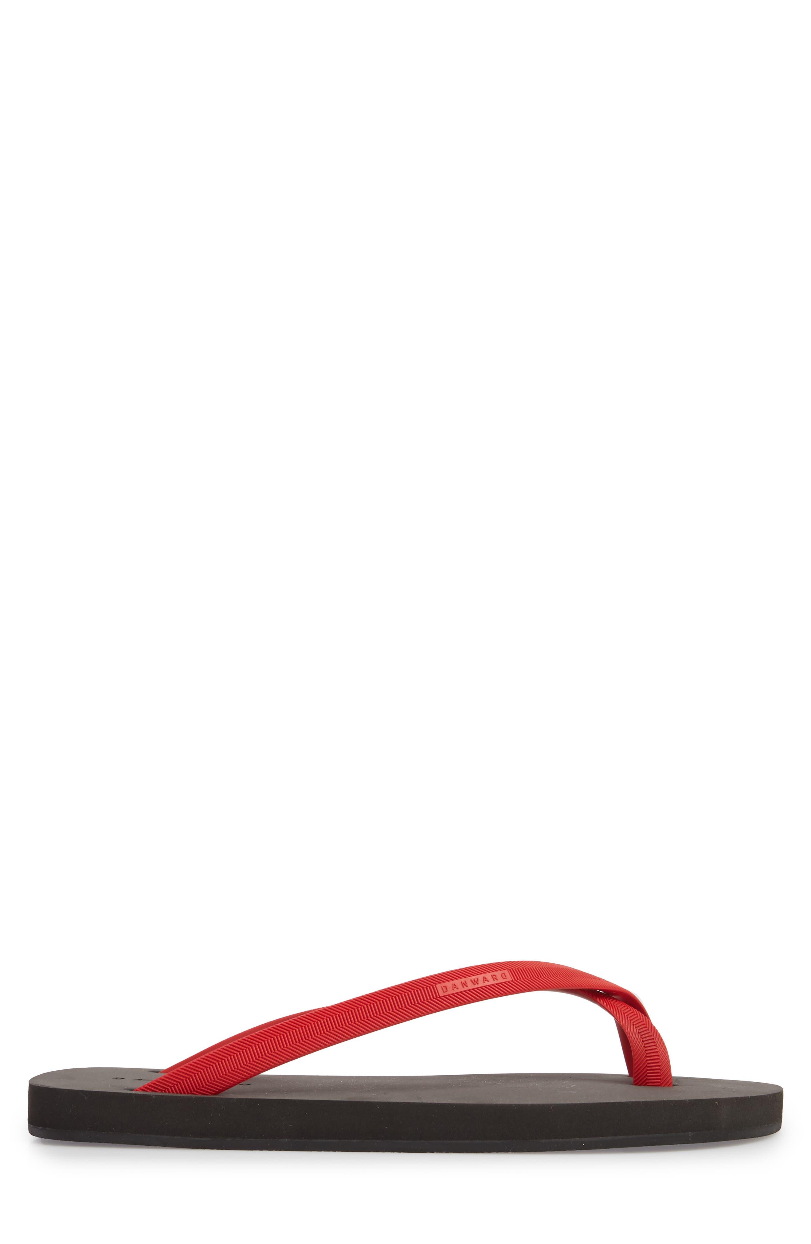 Cross Toe Flip Flop,                             Alternate thumbnail 3, color,                             Red/ Black