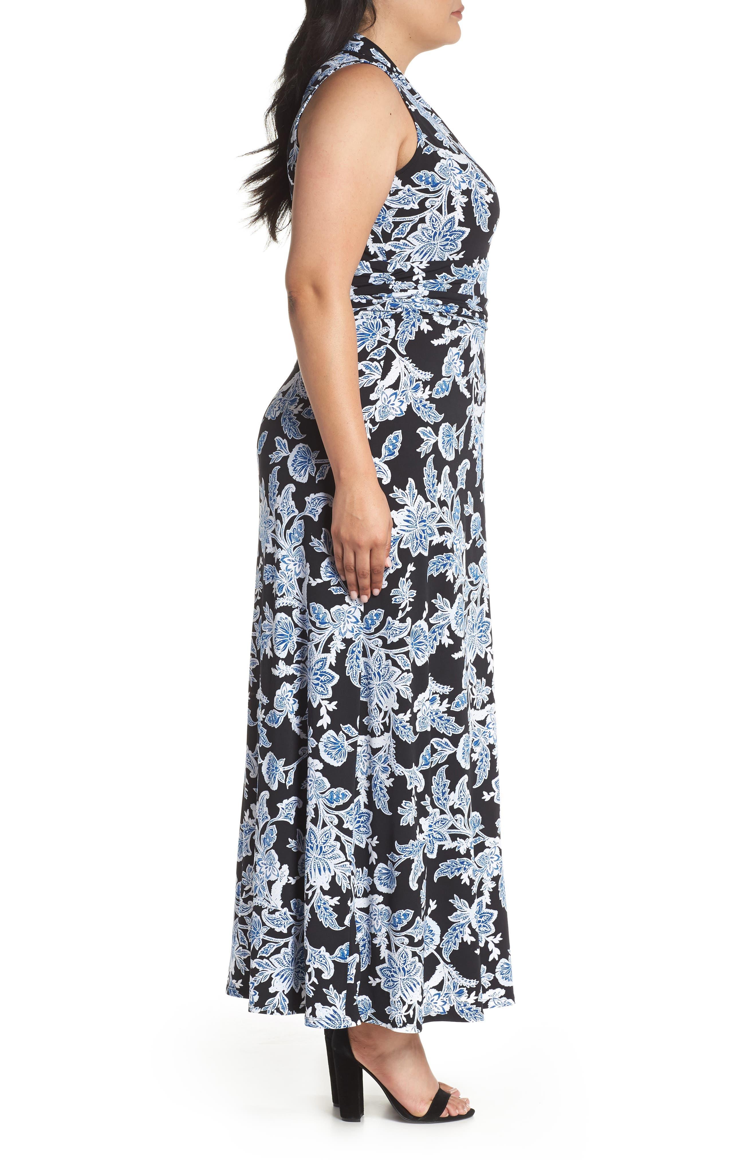 Woodblock Floral Maxi Dress,                             Alternate thumbnail 3, color,                             Rich Black