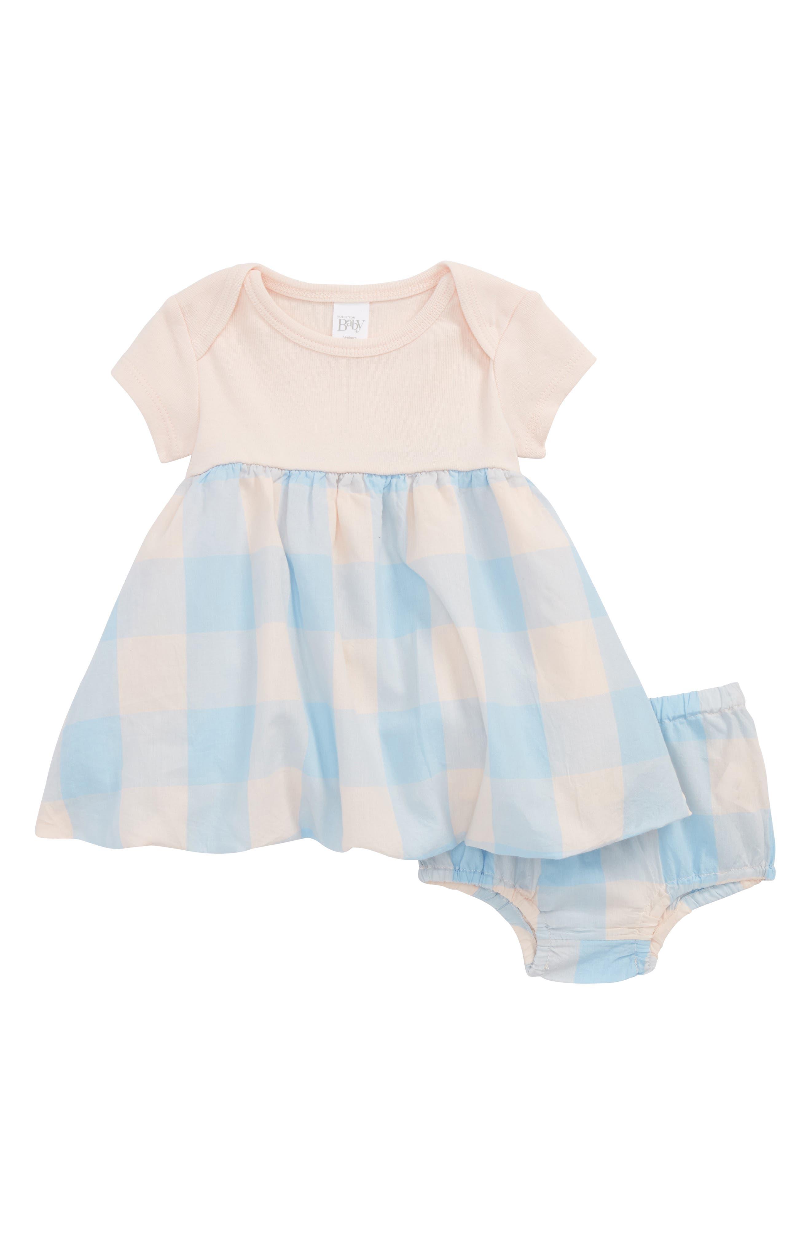 Bubble Dress,                         Main,                         color, Pink Cloud- Blue Check