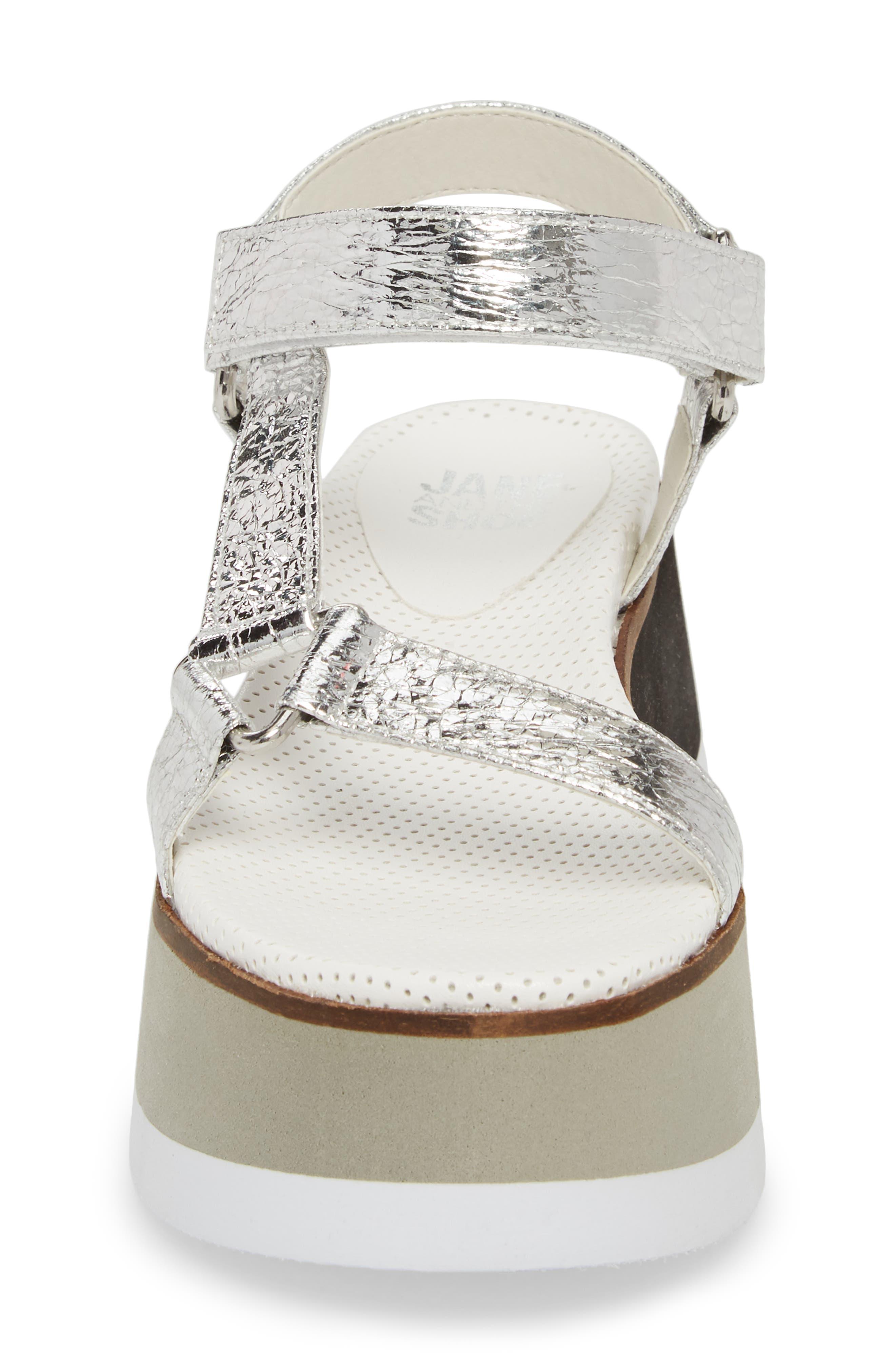 Jayden Platform Sport Sandal,                             Alternate thumbnail 4, color,                             Silver
