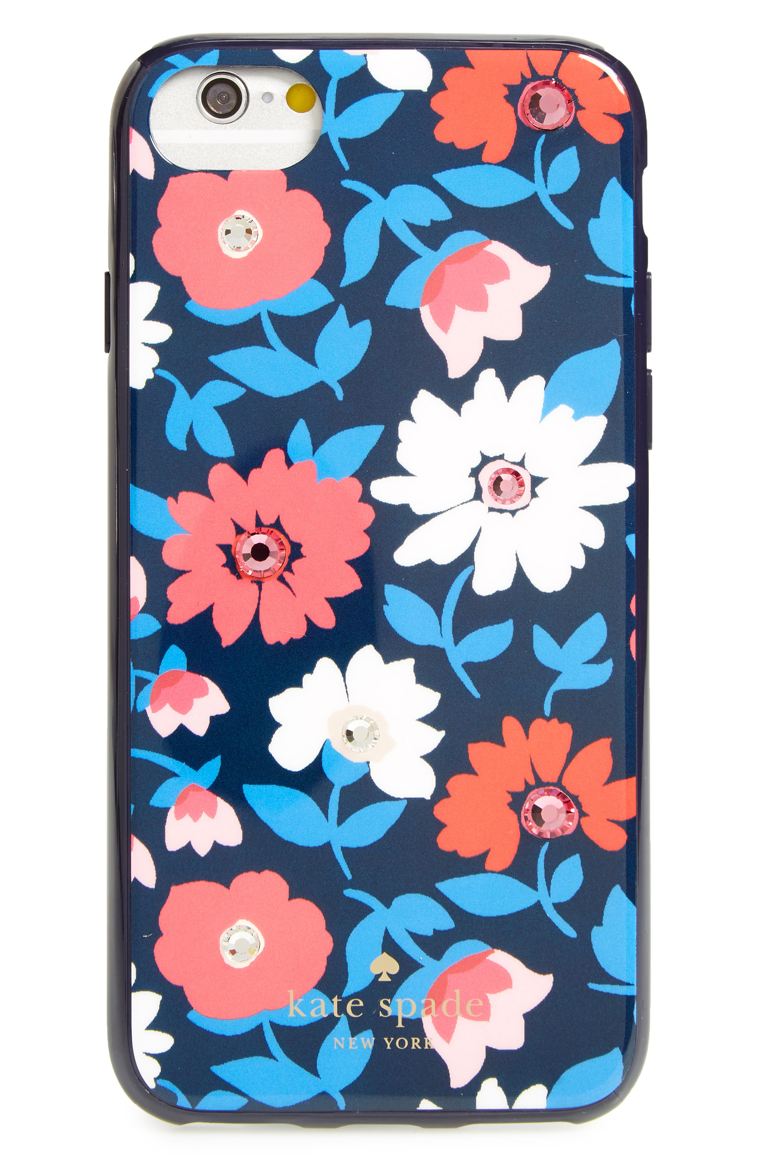 jeweled daisy iPhone 7/8 & 7/8 Plus case,                             Main thumbnail 1, color,                             Blue Multi