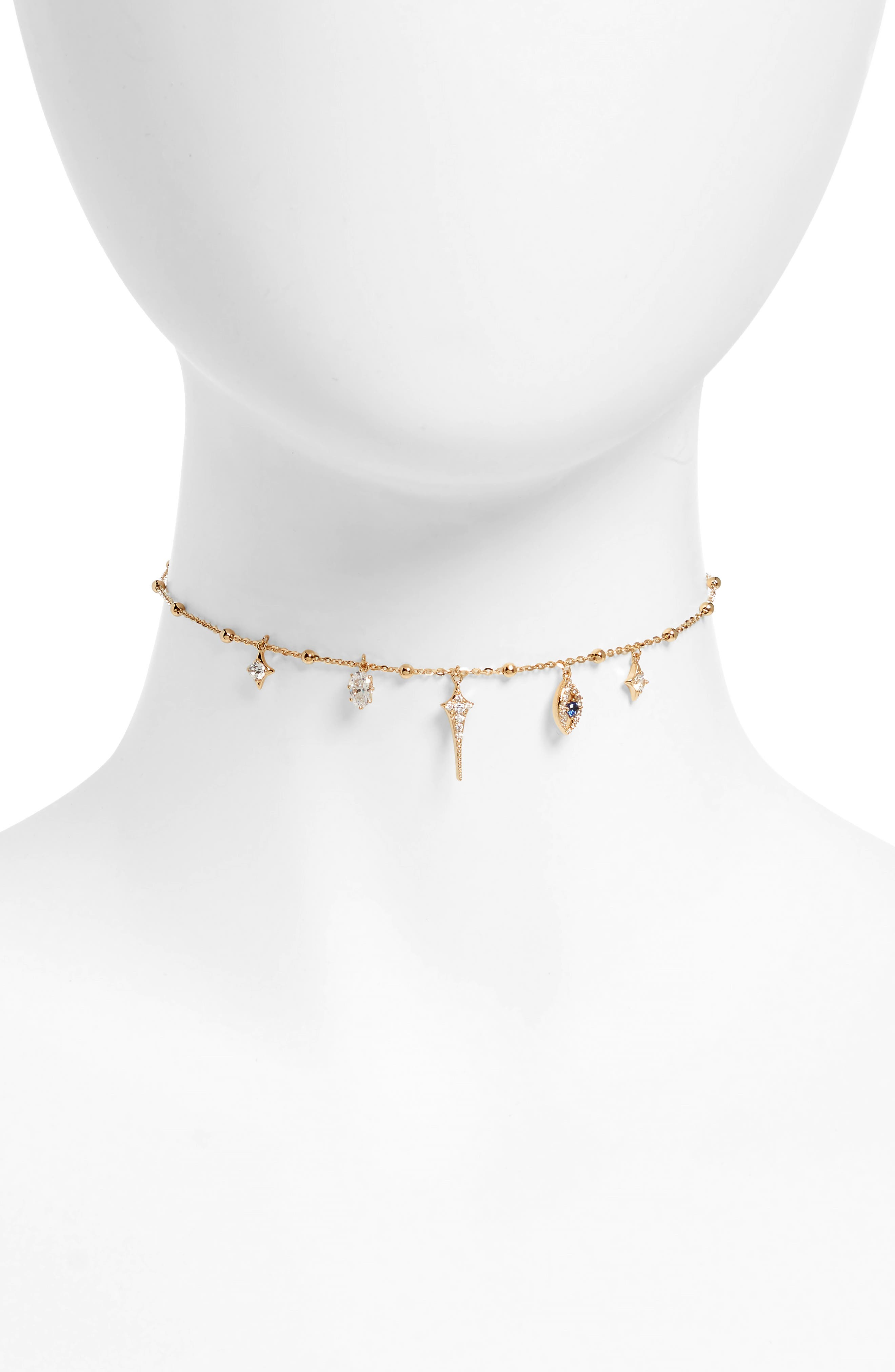 Evil Eye Charm Choker Necklace,                         Main,                         color, Gold